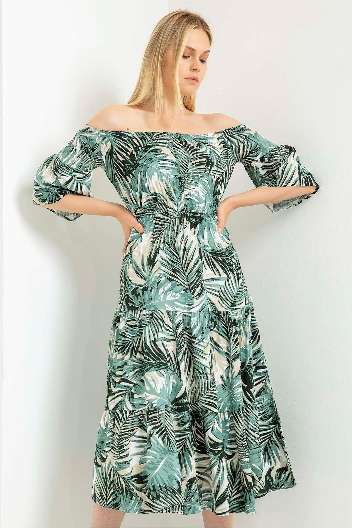 Palmiye Desen Madonna Yaka Elbise-Haki