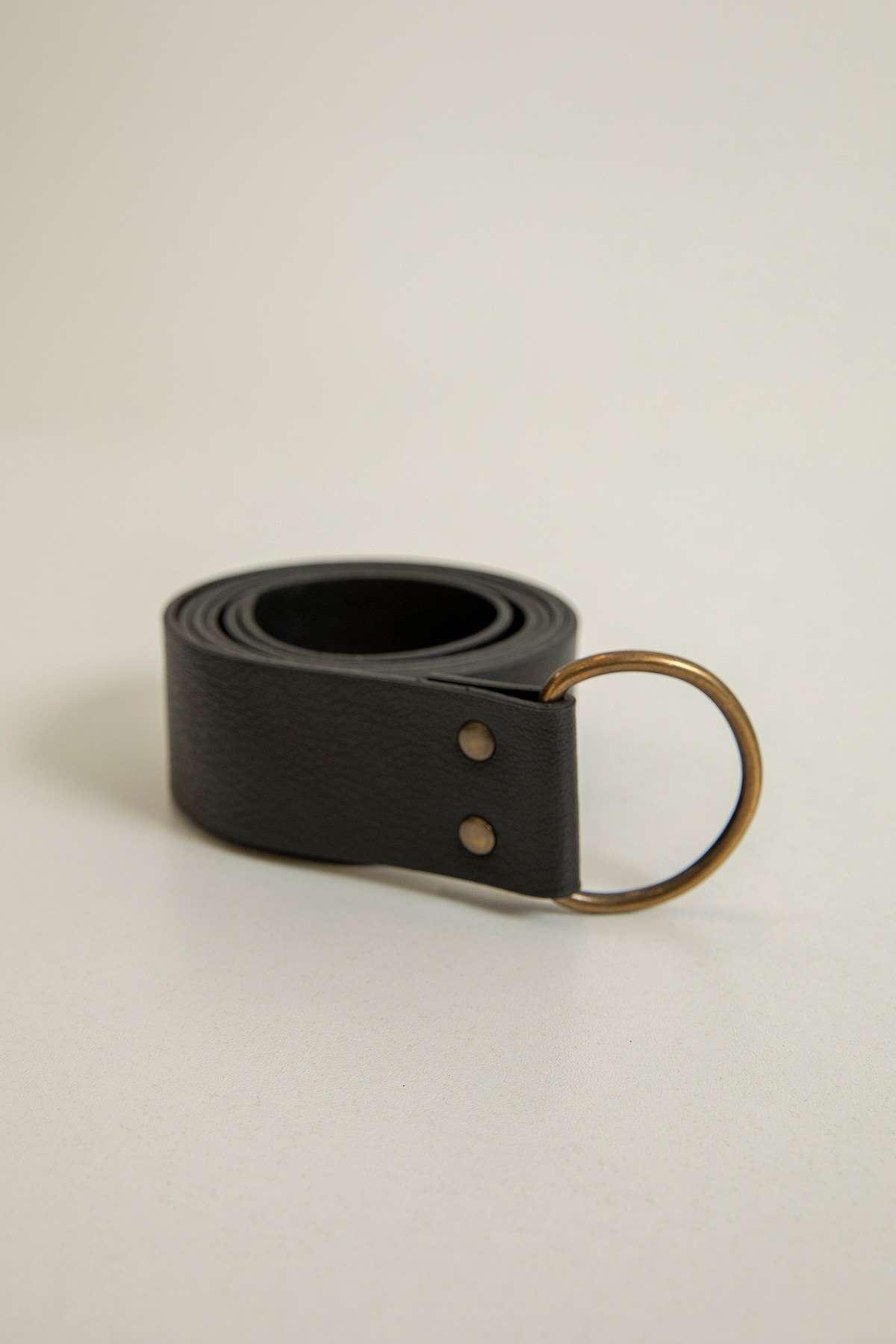 Küçük Oval Tokalı Kemer-Siyah