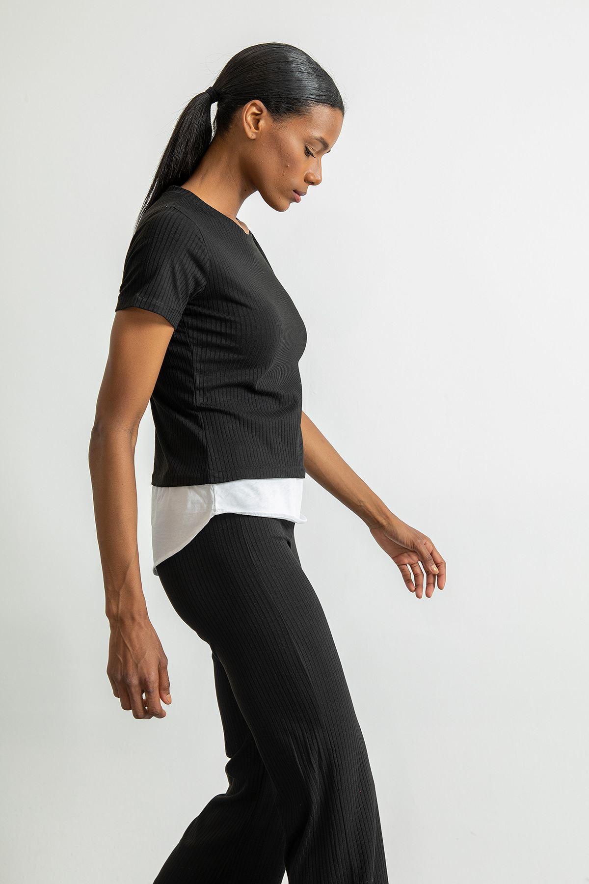 İspanyol Paça Pantolon Takım-Siyah