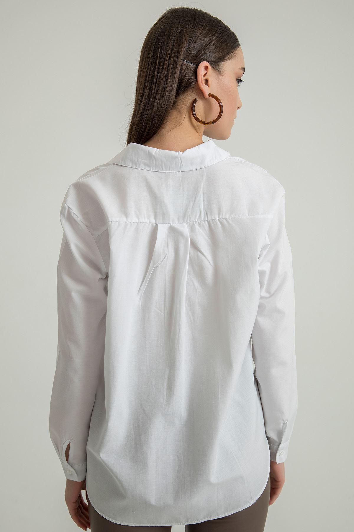 Yüz Nakışlı Gömlek-Beyaz