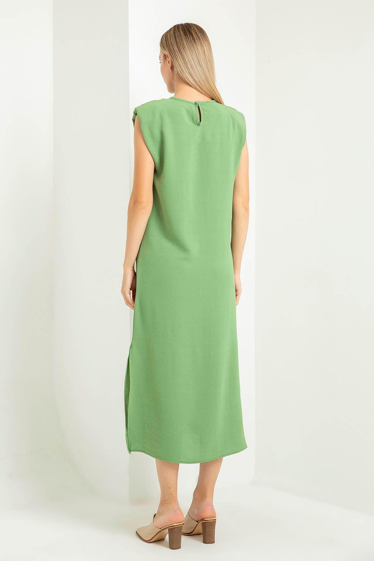 Vatkalı Uzun Elbise-Yeşil