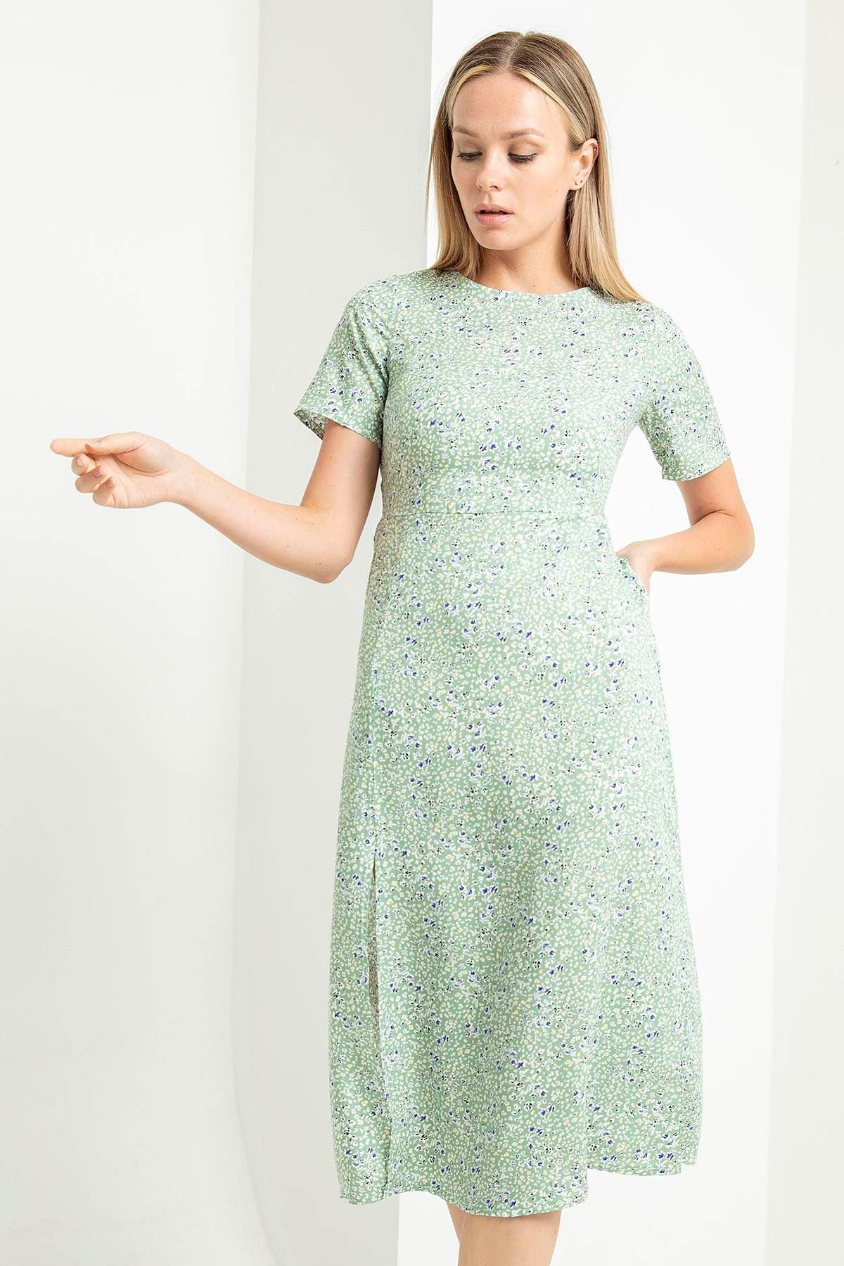 İnce Çıtır Desen Kısa Kol Elbise-Mint