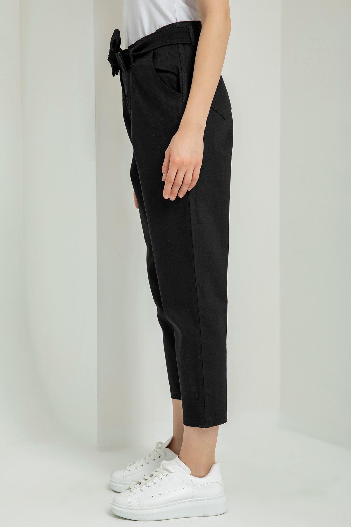 Kuşaklı Boyfrıend Pantolon-Siyah