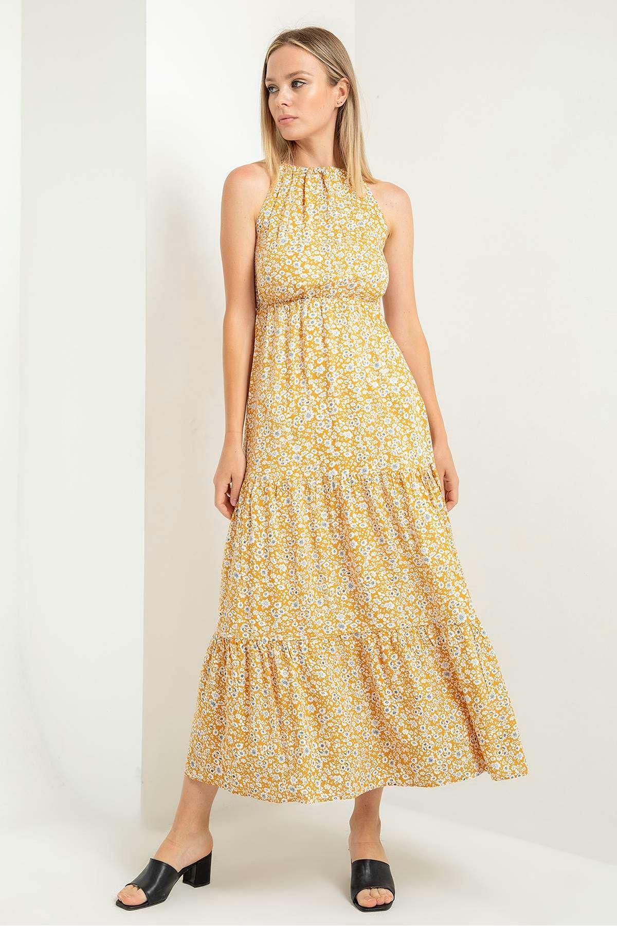 Halter Yaka Bağlama Detay Elbise-Hardal