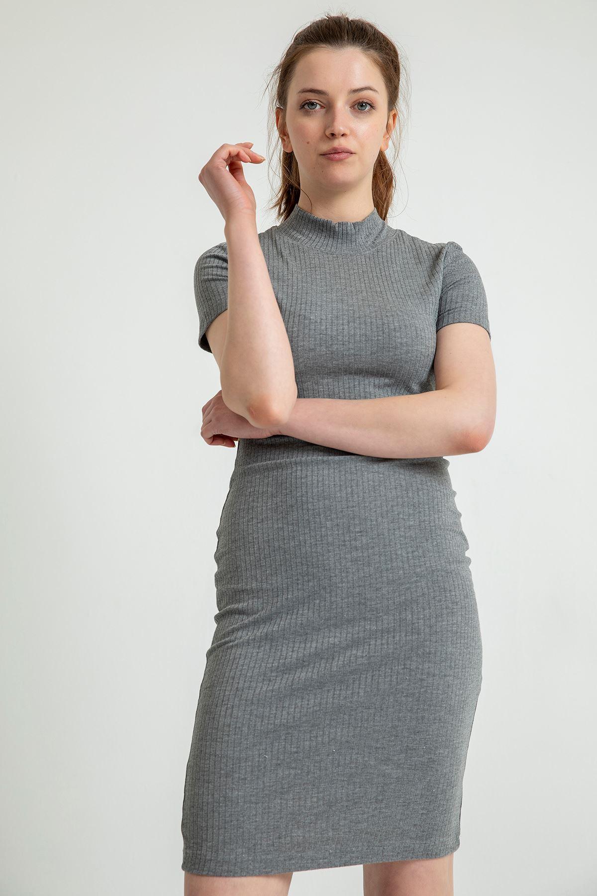 Dik Yaka Midi Elbise-Gri