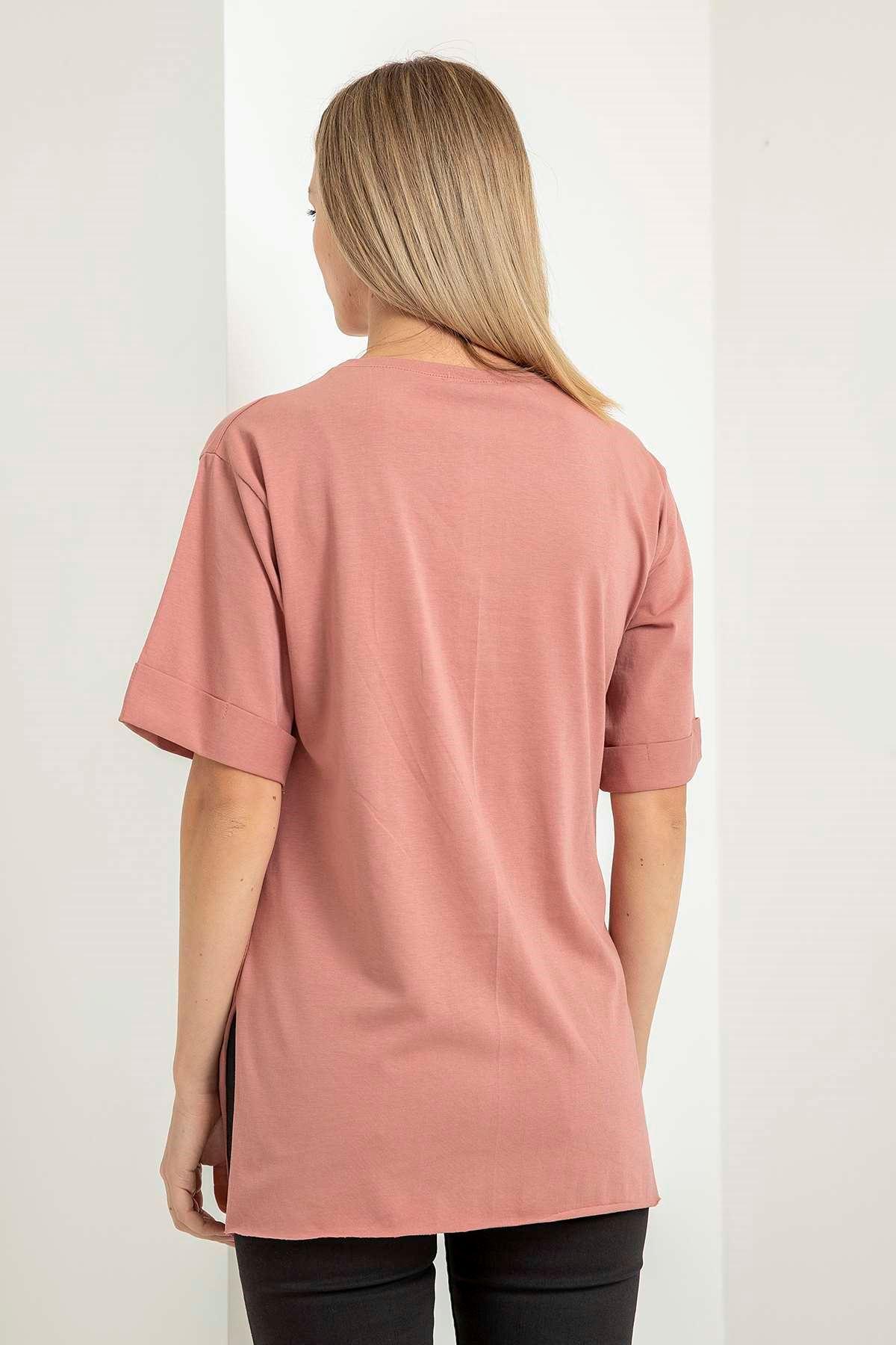 Çiçekli Kız Baskılı T-Shirt-Gül Kurusu