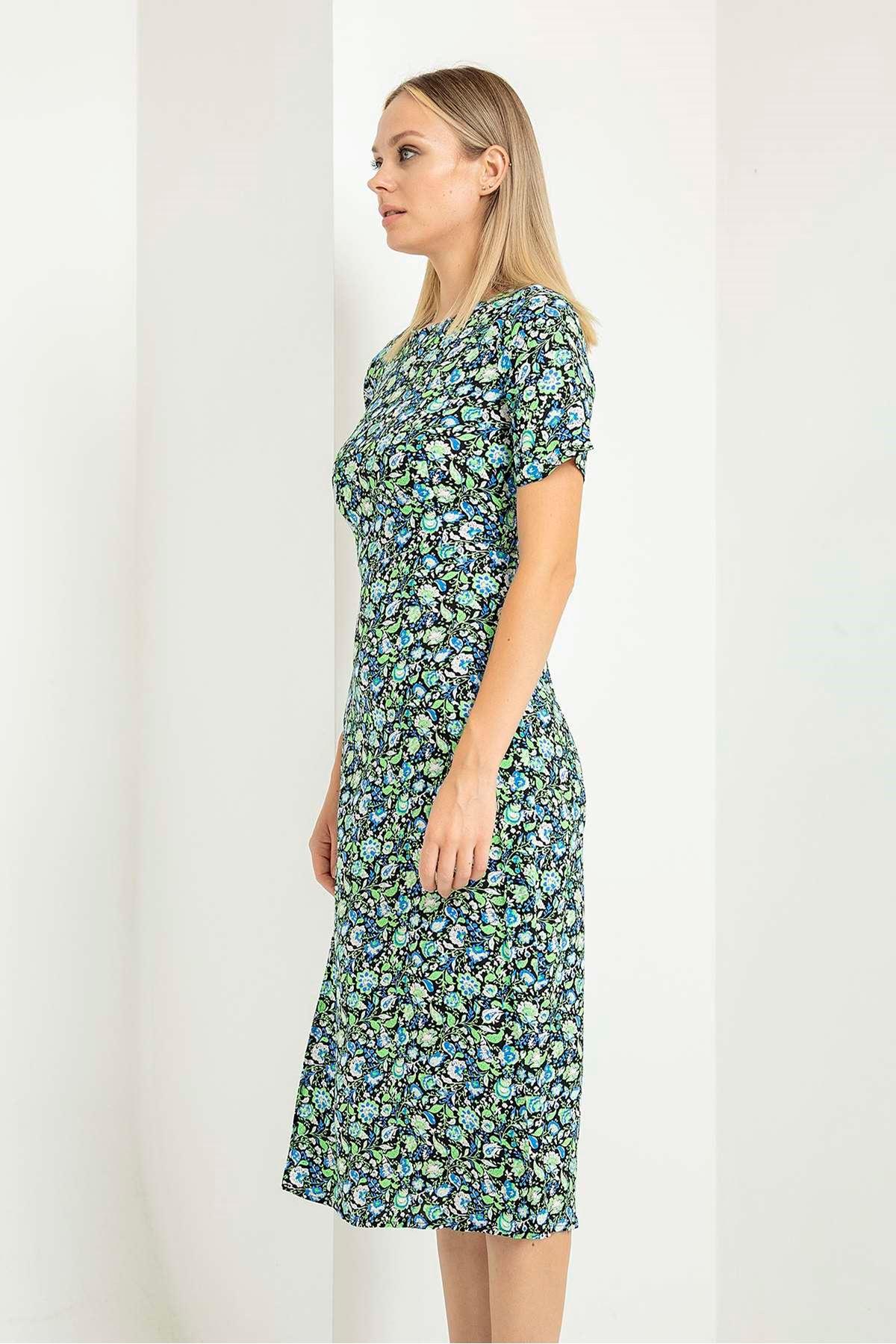 Yaprak Şal Desen Kısa Kol Elbise-Yeşil