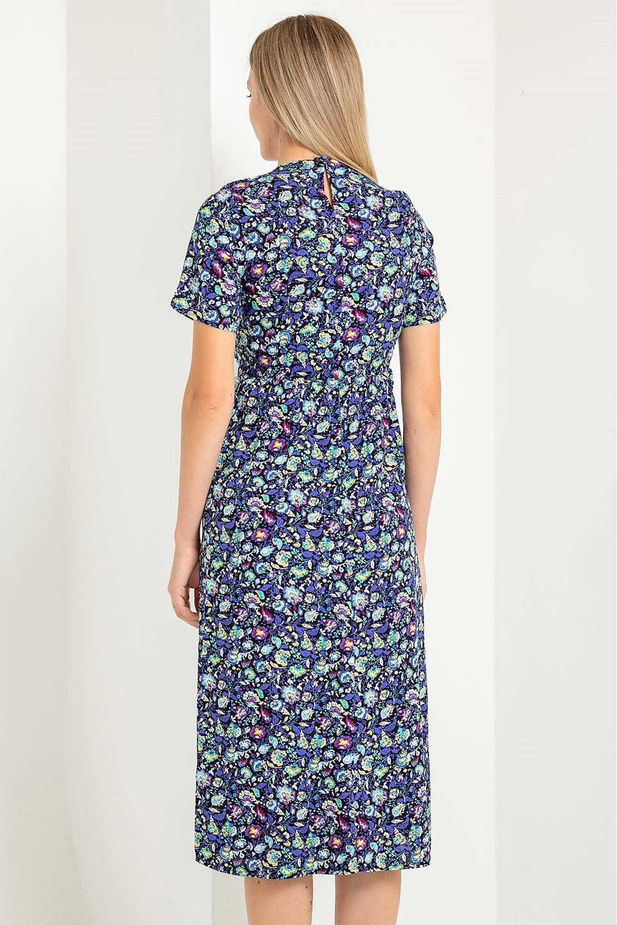 Yaprak Şal Desen Kısa Kol Elbise-Bebemavi
