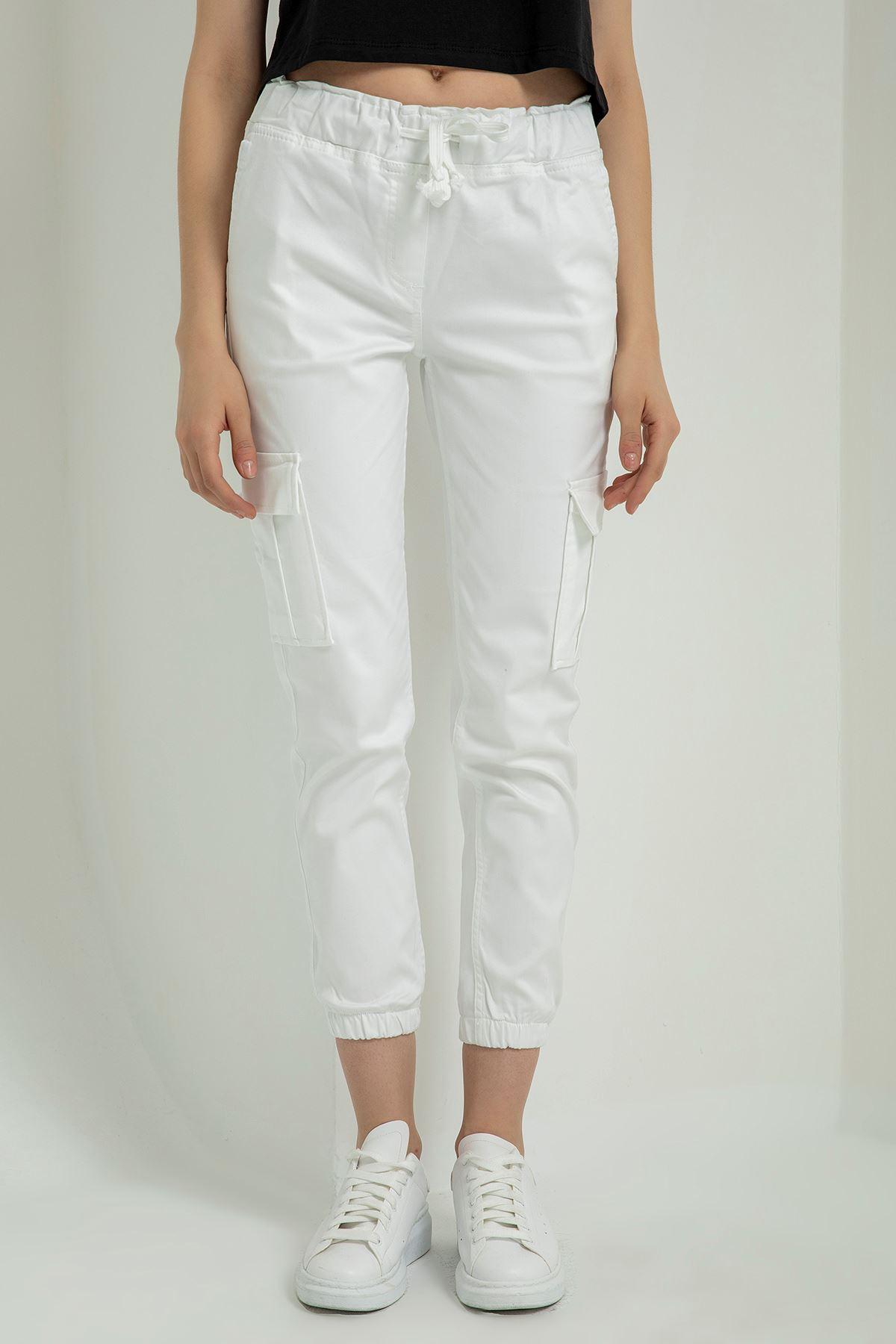 Gabardin Kargo Pantolon-Beyaz