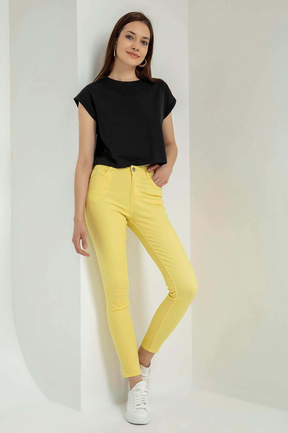 Yüksek Bel Skinny Pantolon-Sarı