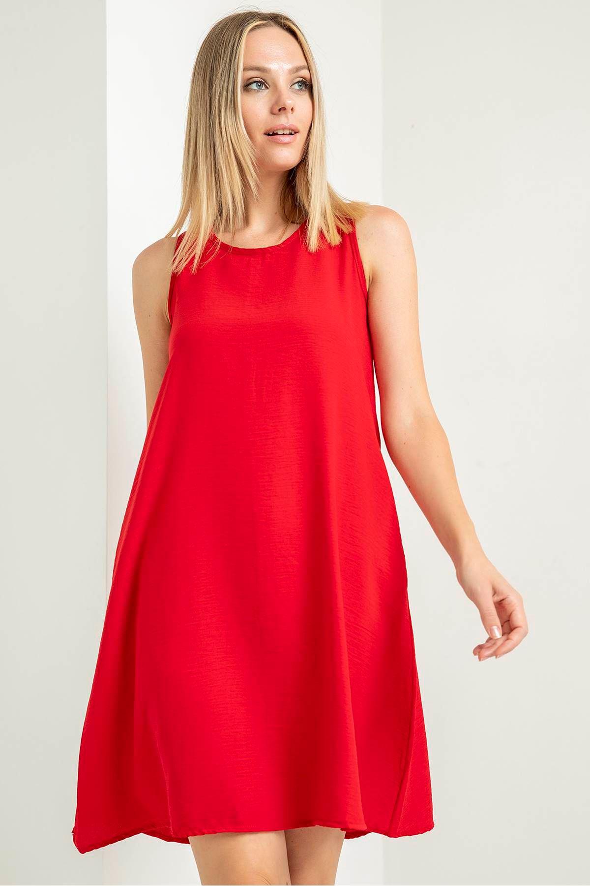 Sıfır Kol Salaş Elbise-Kırmızı