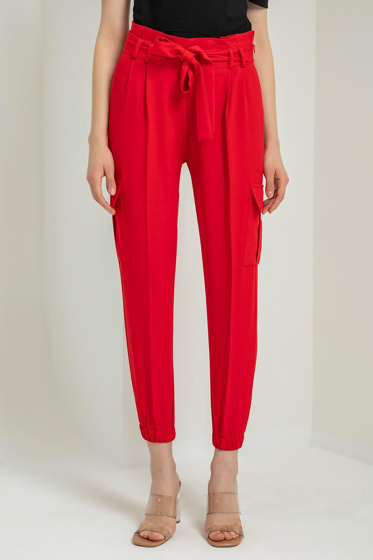 Kuşaklı Kargo Pantolon-Kırmızı