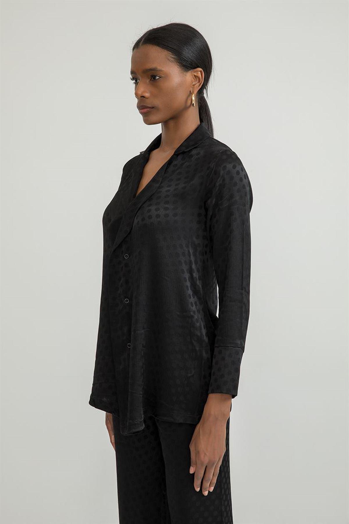 Puantiye Desen Salaş Gömlek-Siyah