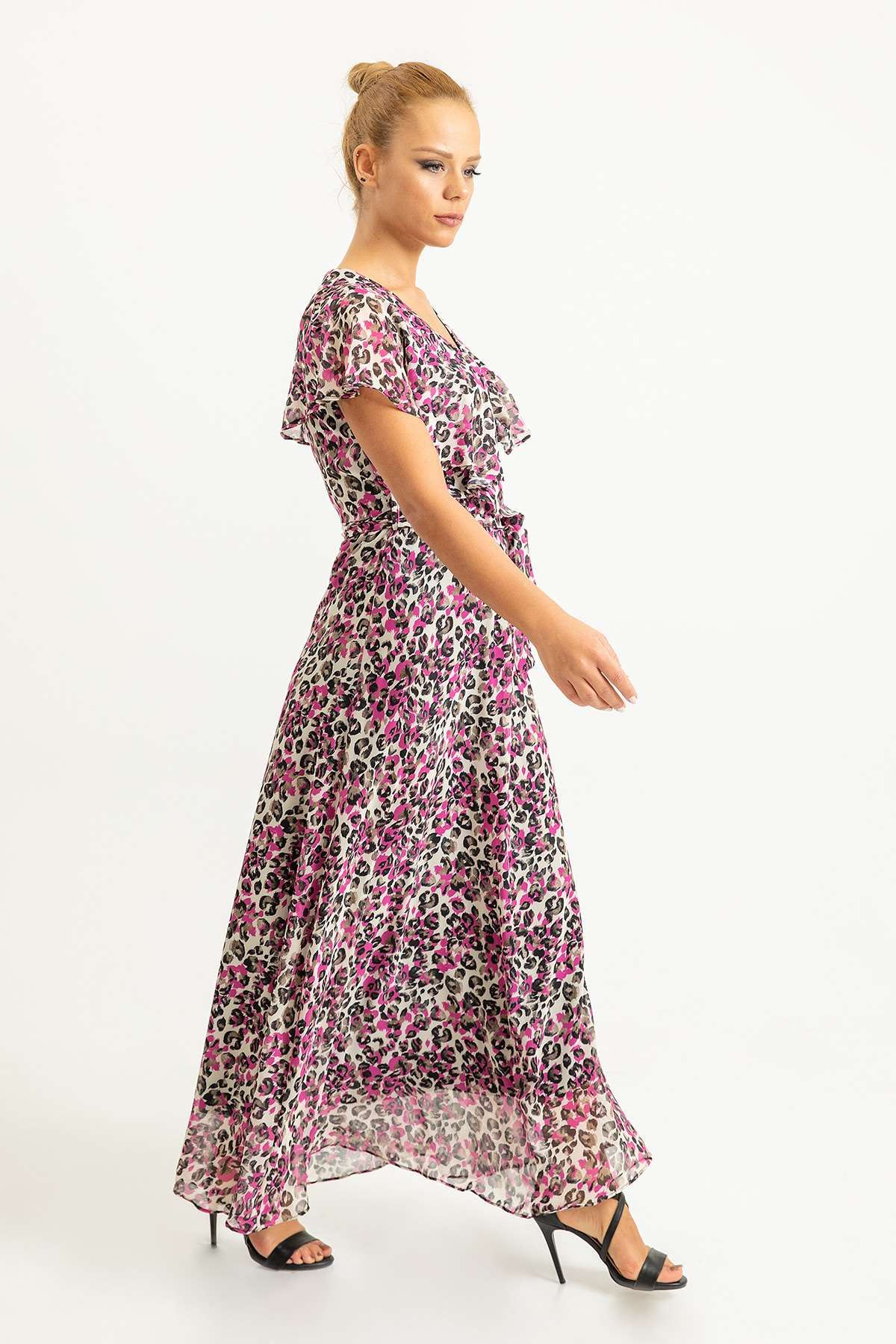 Renkli Leopar Desen Allerli Şifon Elbise-Fuşya