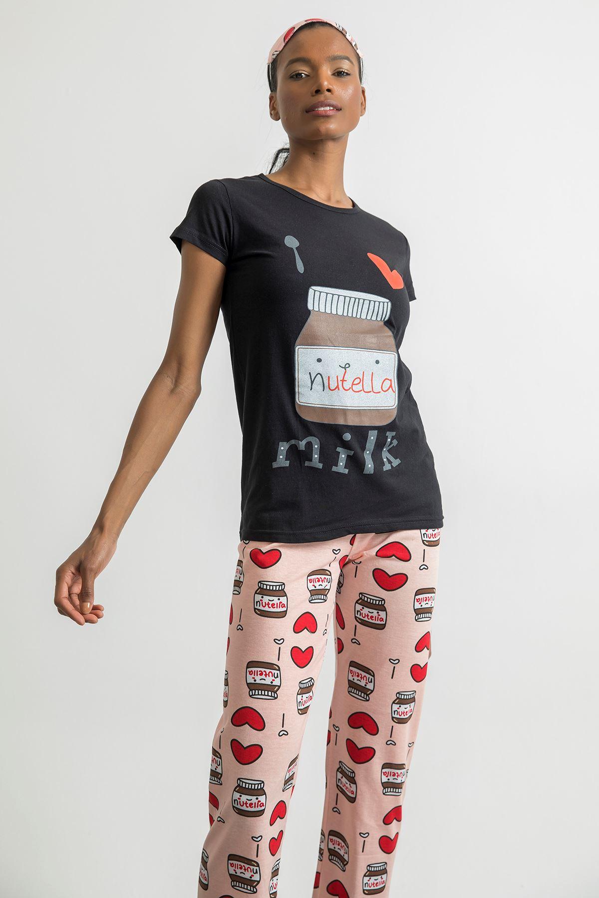Nutella Milk Baskılı Pijama Takım-Siyah