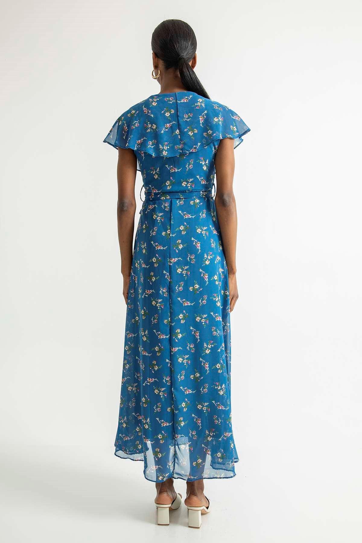 Çiçek Desen Allerli Şifon Elbise-Mavi