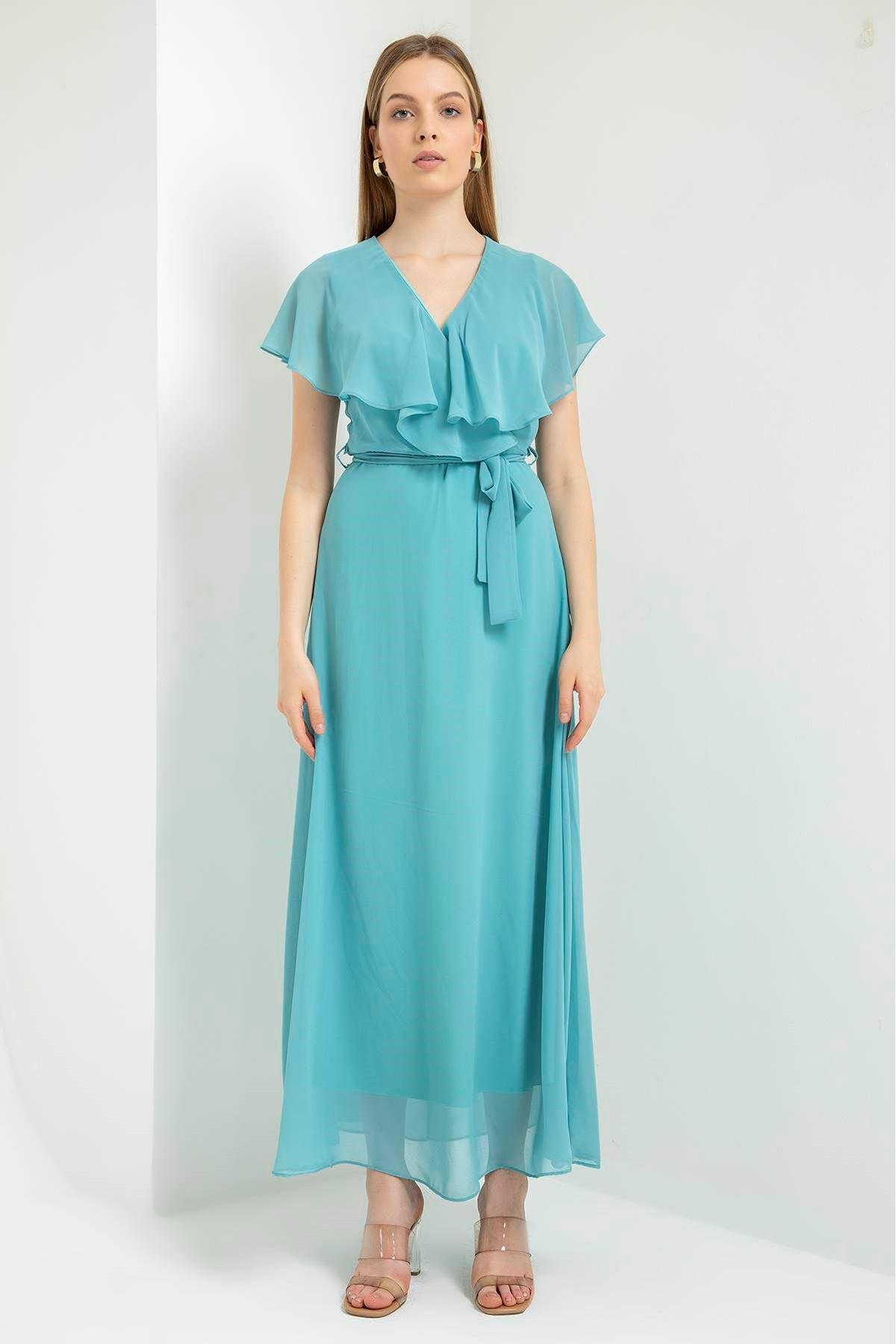 Düz Şifon Allerli Uzun Elbise-Mint