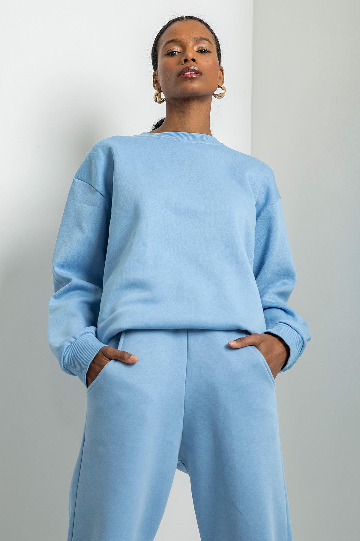 Boyfriend Sweatshirt-Açık Mavi