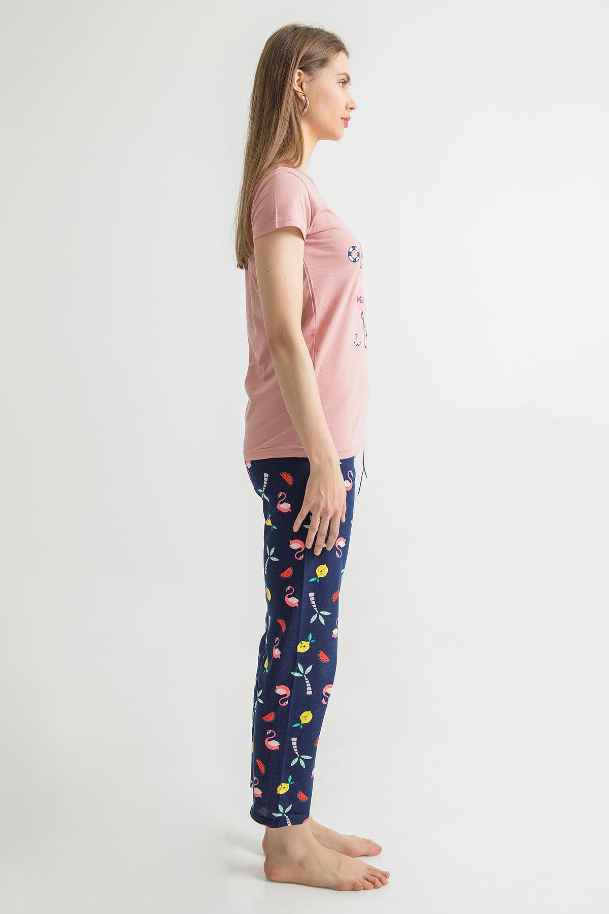 Summer Baskılı Pijama Takımı-Pudra