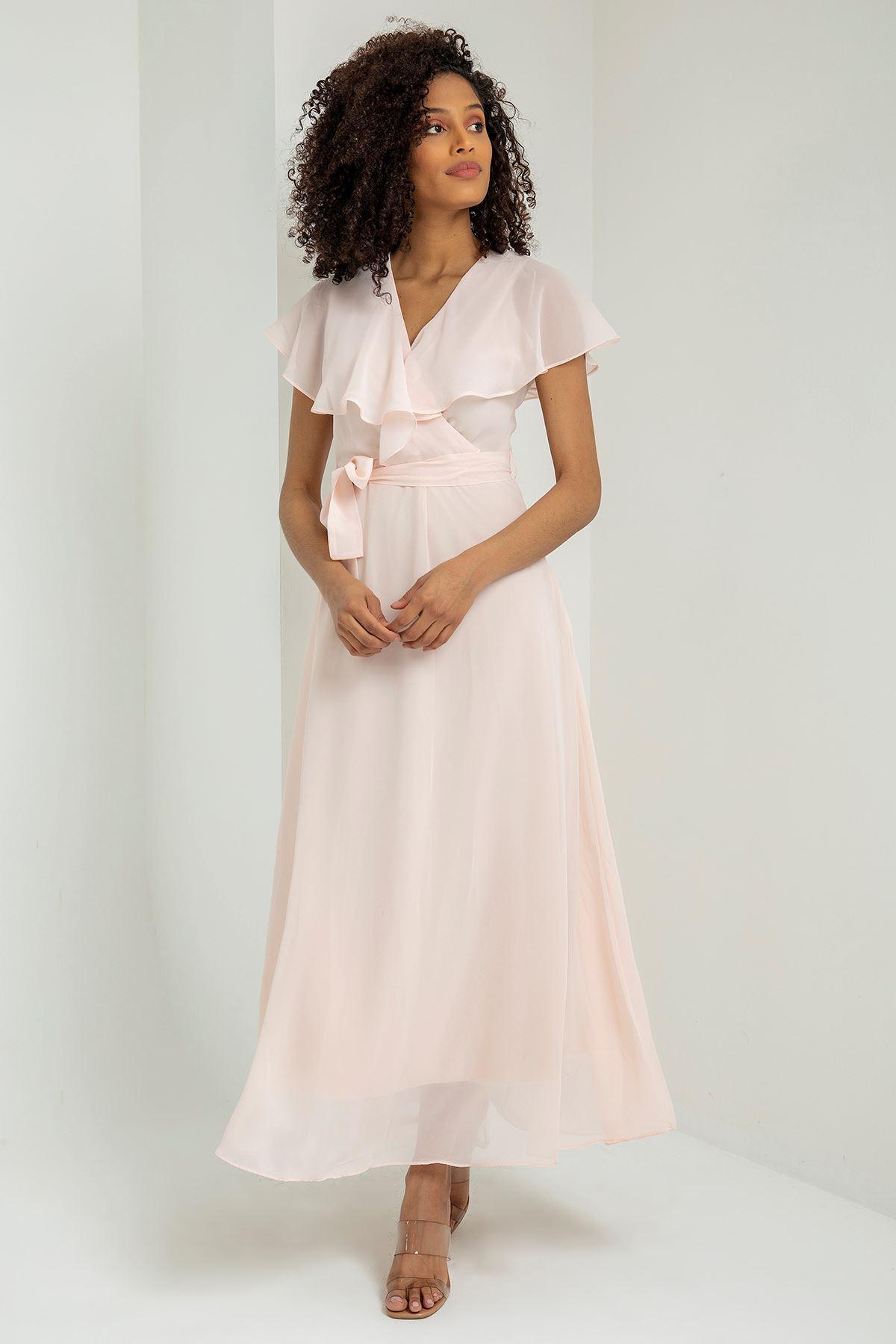 Düz Şifon Allerli Uzun Elbise-Pudra