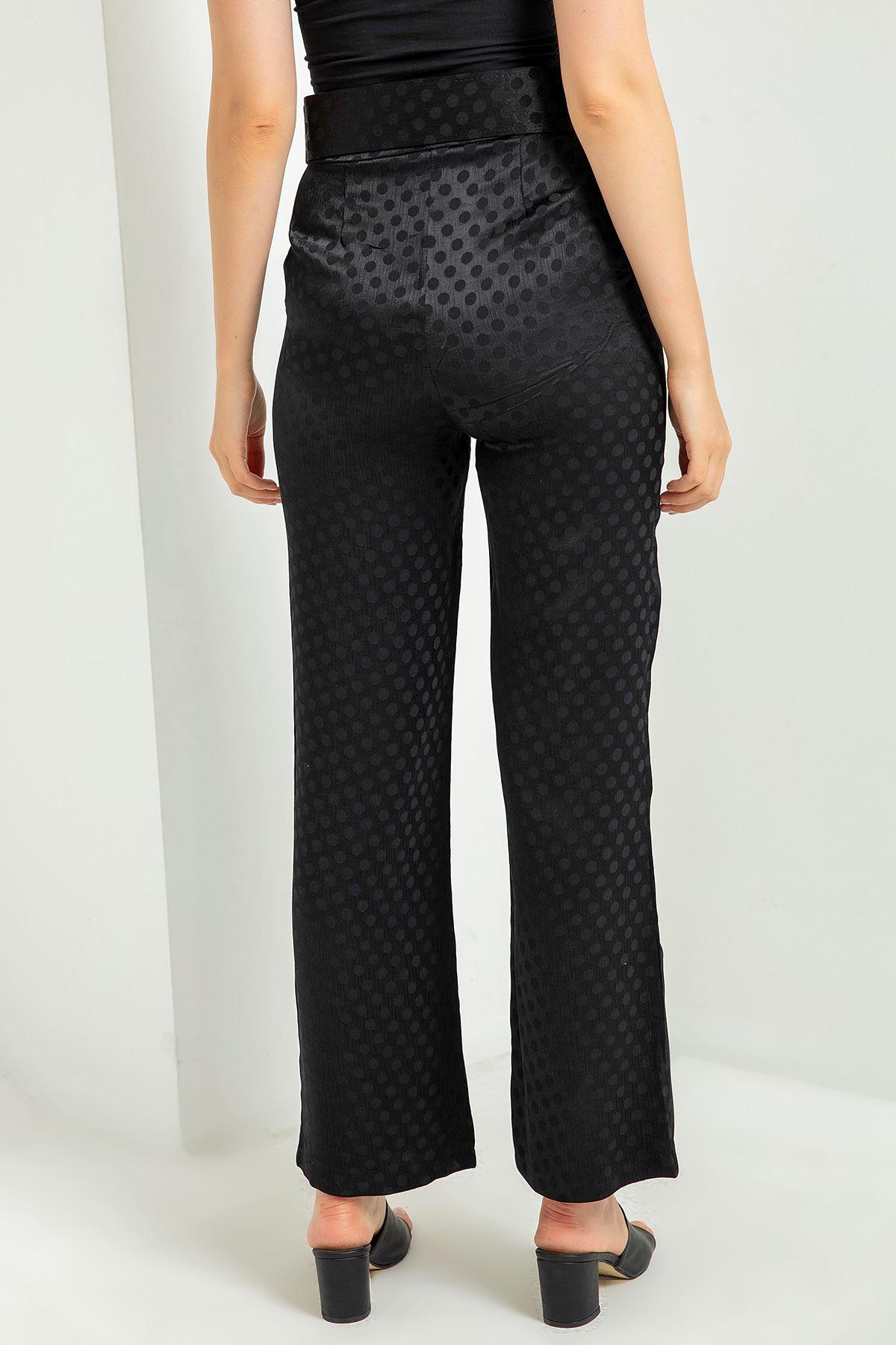 Puantiye Desen Kemerli Pantolon-Siyah