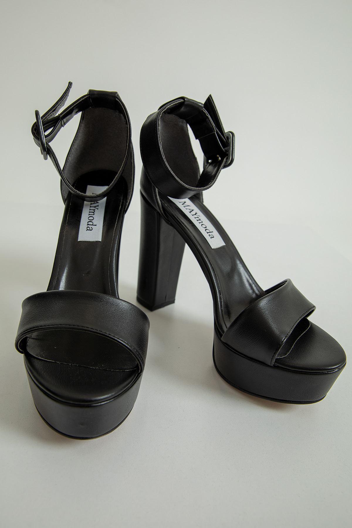 Bantlı Kalın Topuklu Ayakkabı-Siyah