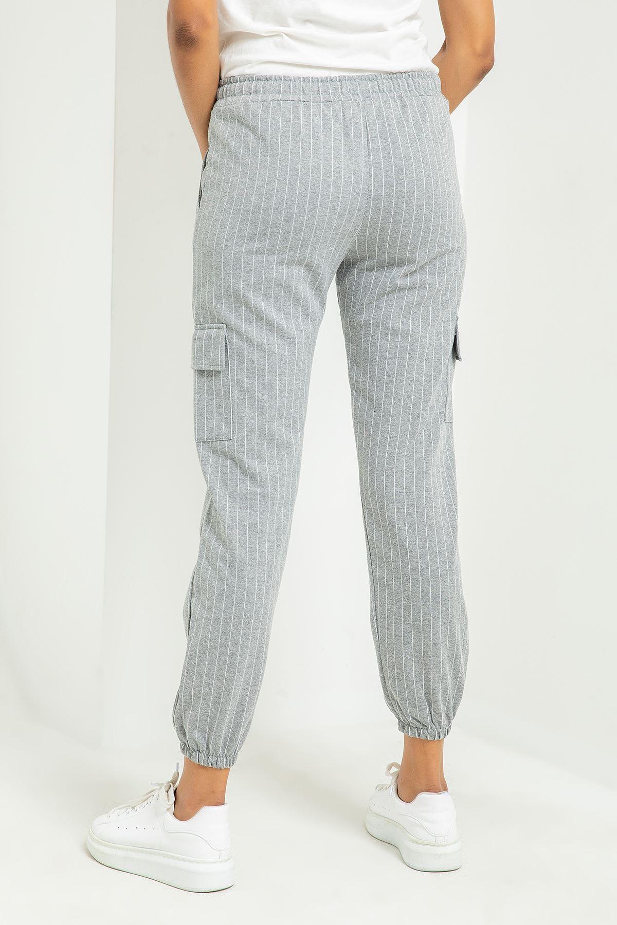 Çizgili Kargo Pantolon-Gri