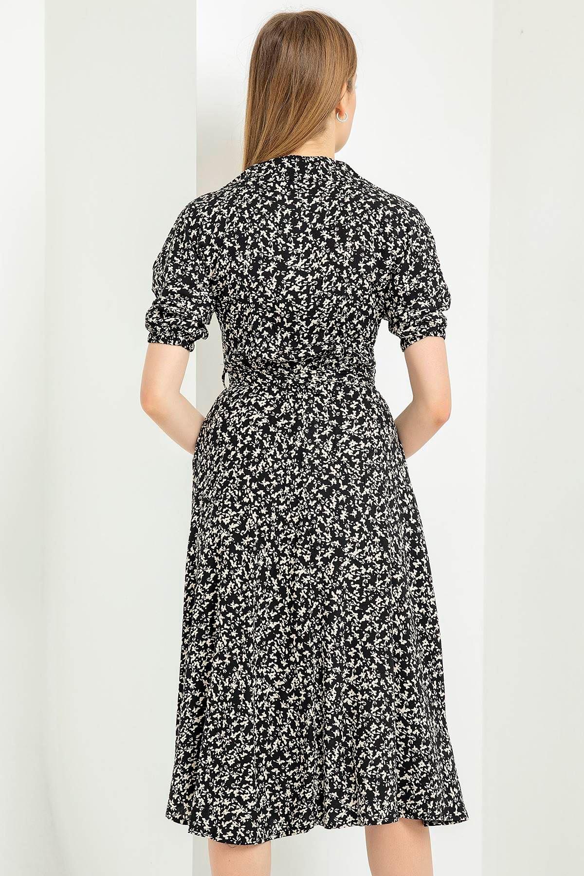 Balon Kol Kemerli Elbise-Siyah