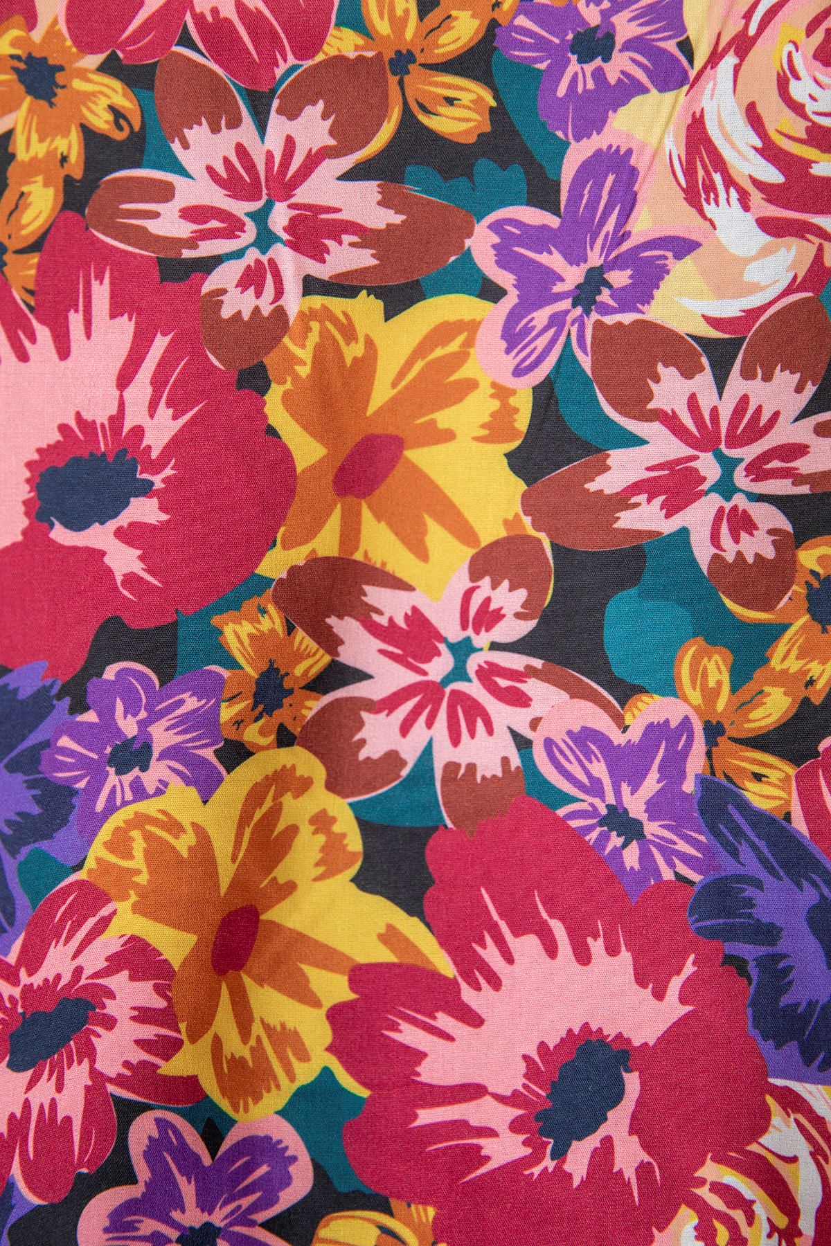 Çiçek Desen Balon Kol Bluz-Pembe