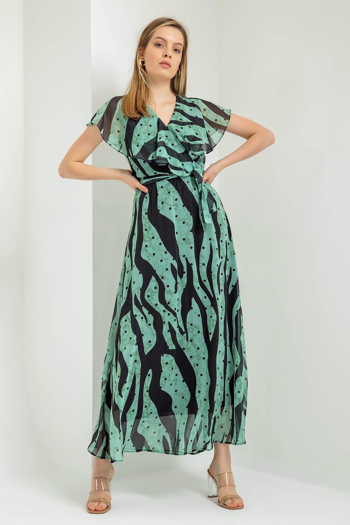 Zebra Puantiye Desen Şifon Elbise-Mint