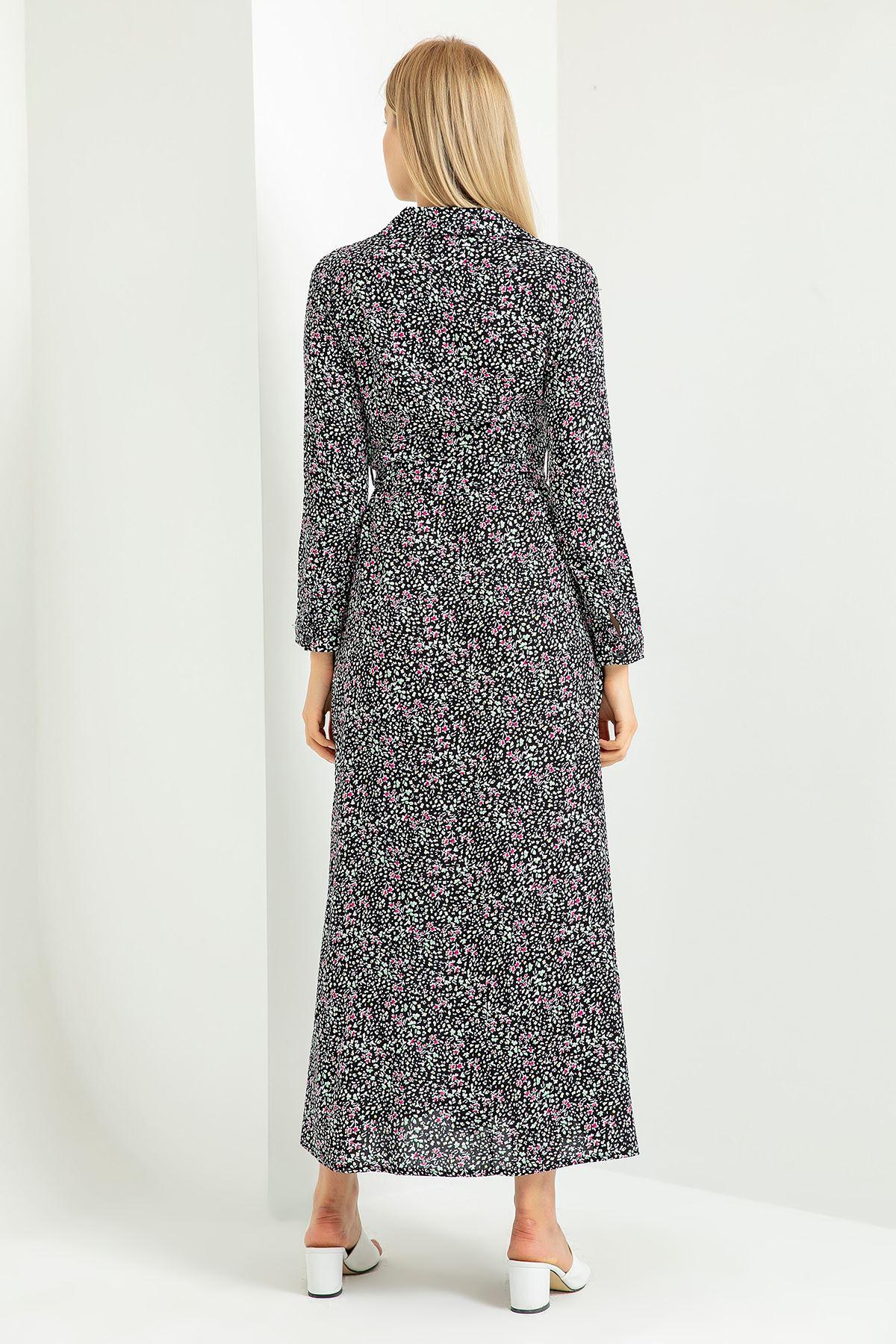 İnce Çıtır Çiçek Desen Gömlek Elbise-Siyah