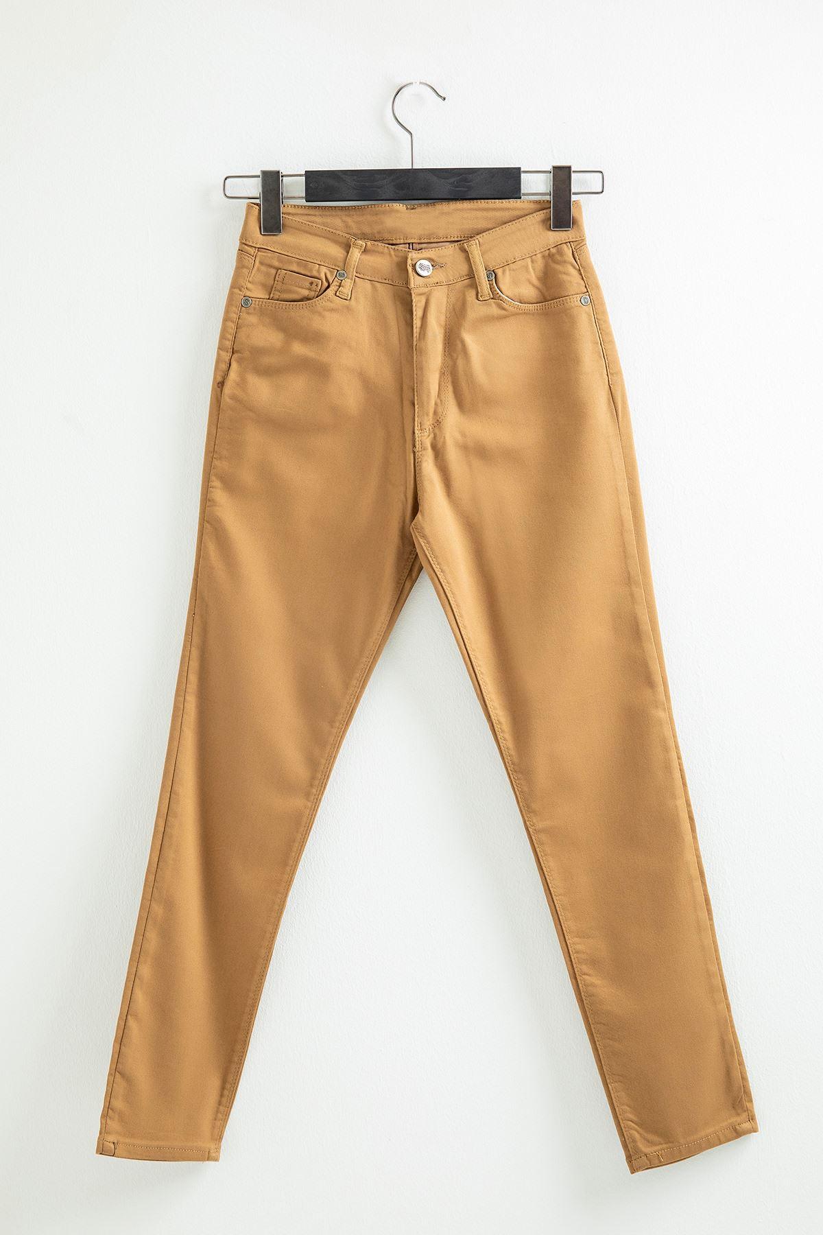 Dar Paça Kot Pantolon-Camel