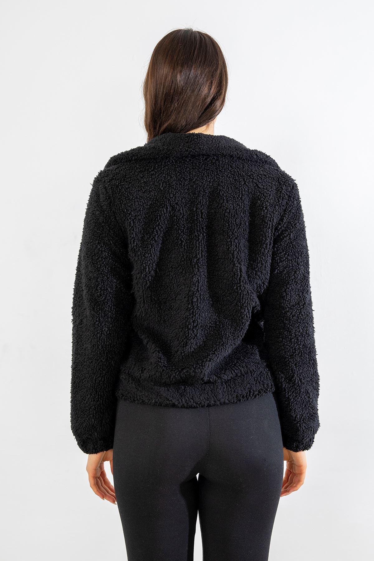 Fermuarlı Peluş Mont-Siyah