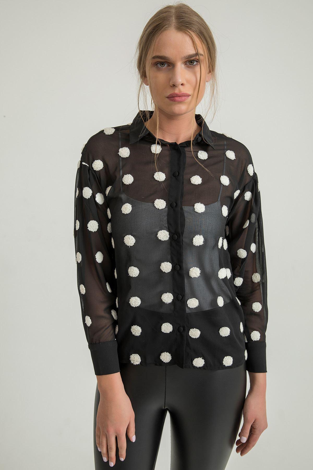 Puantiyeli Gömlek-Siyah