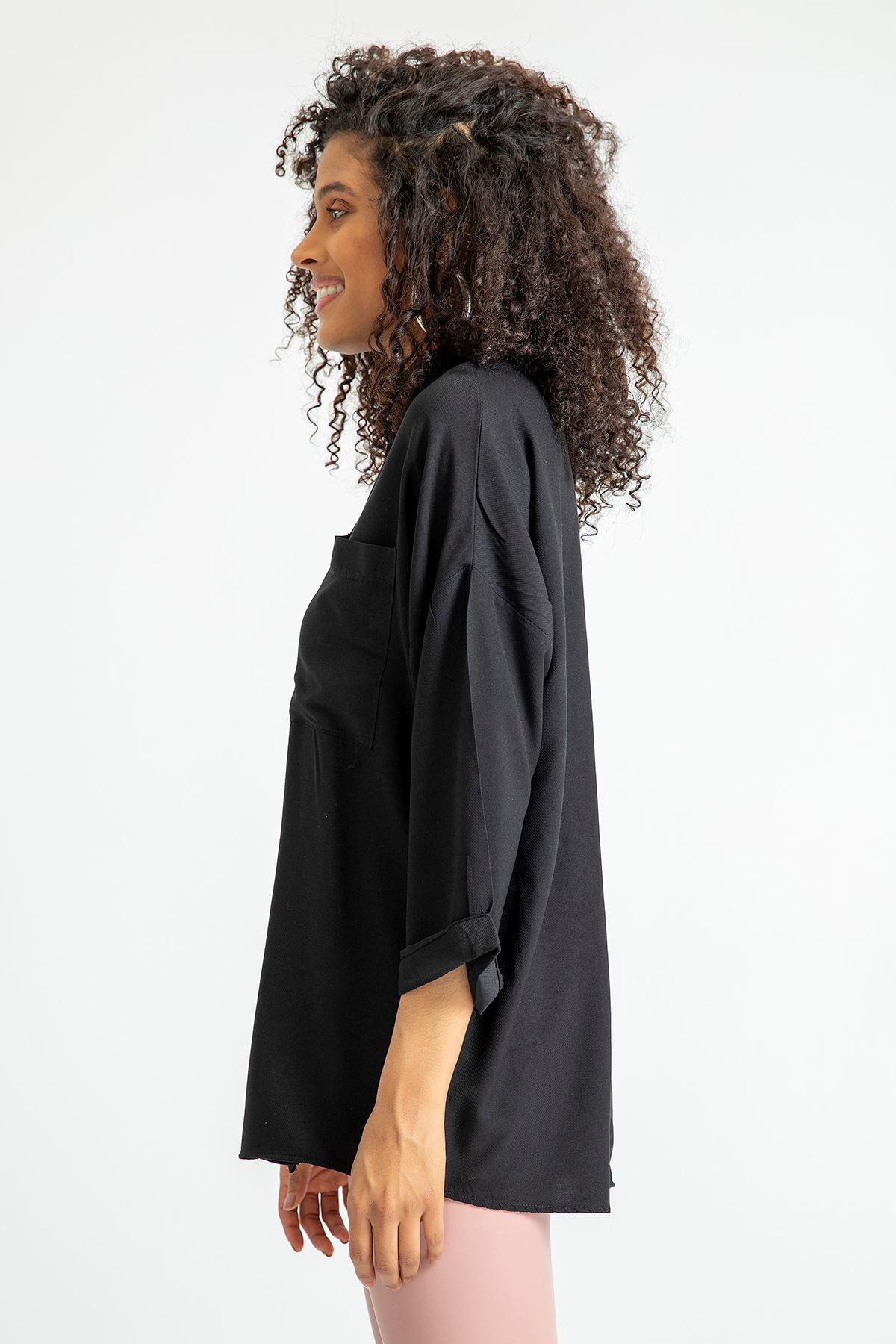 Cepli Salaş Gömlek-Siyah