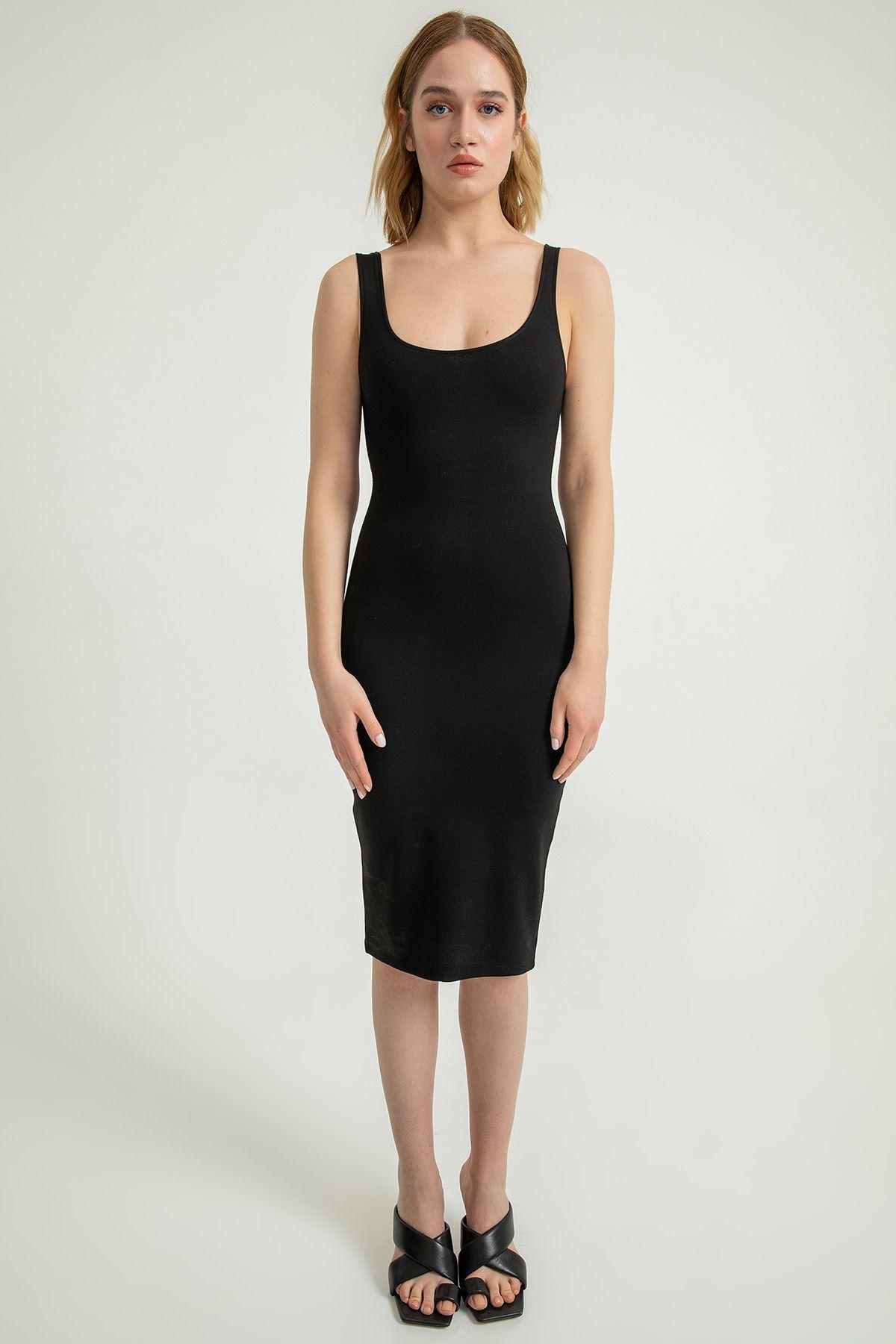 Kalın Askılı Kalem Elbise-Siyah