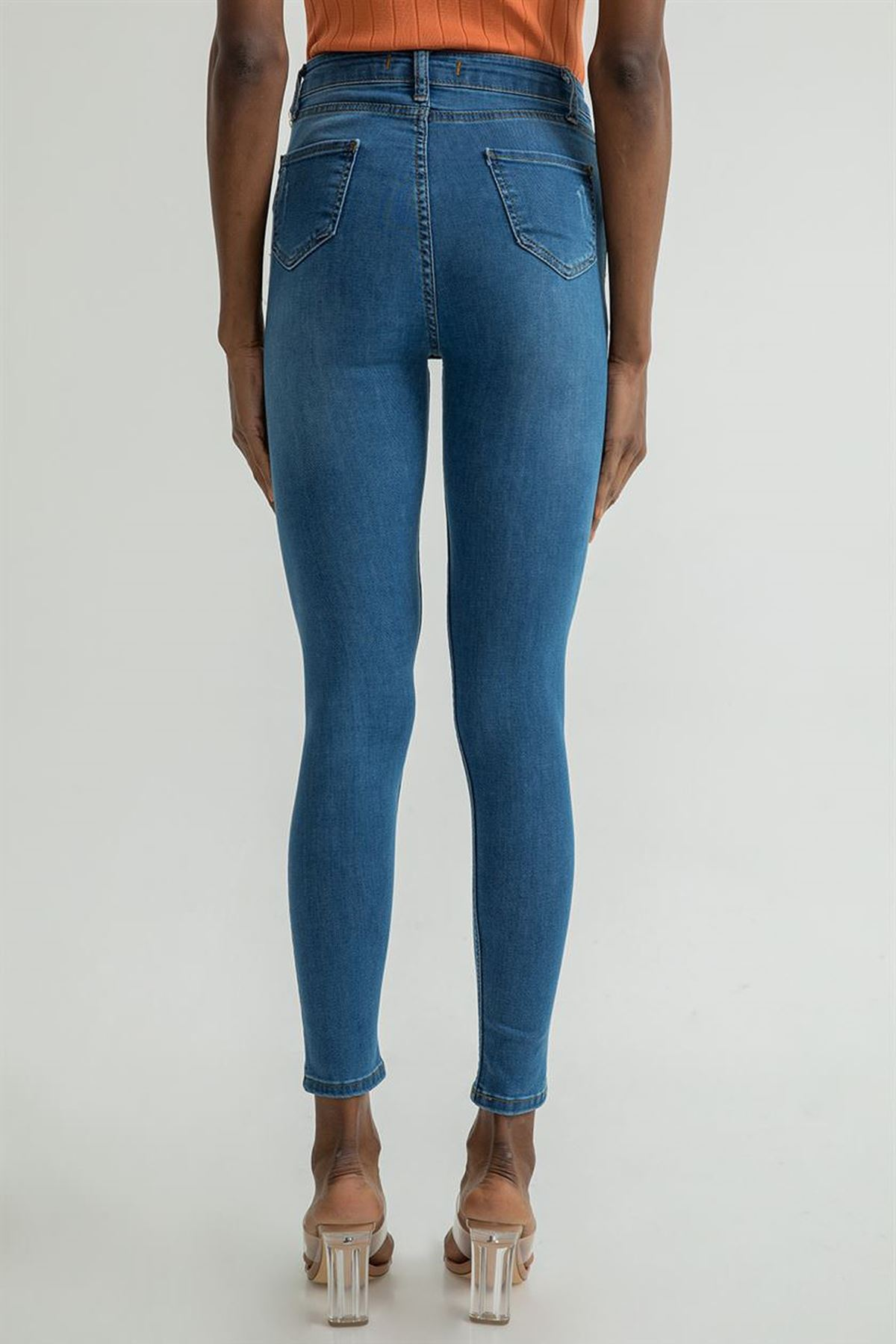 Düz Skinny Jean Pantolon-Koyu Mavi
