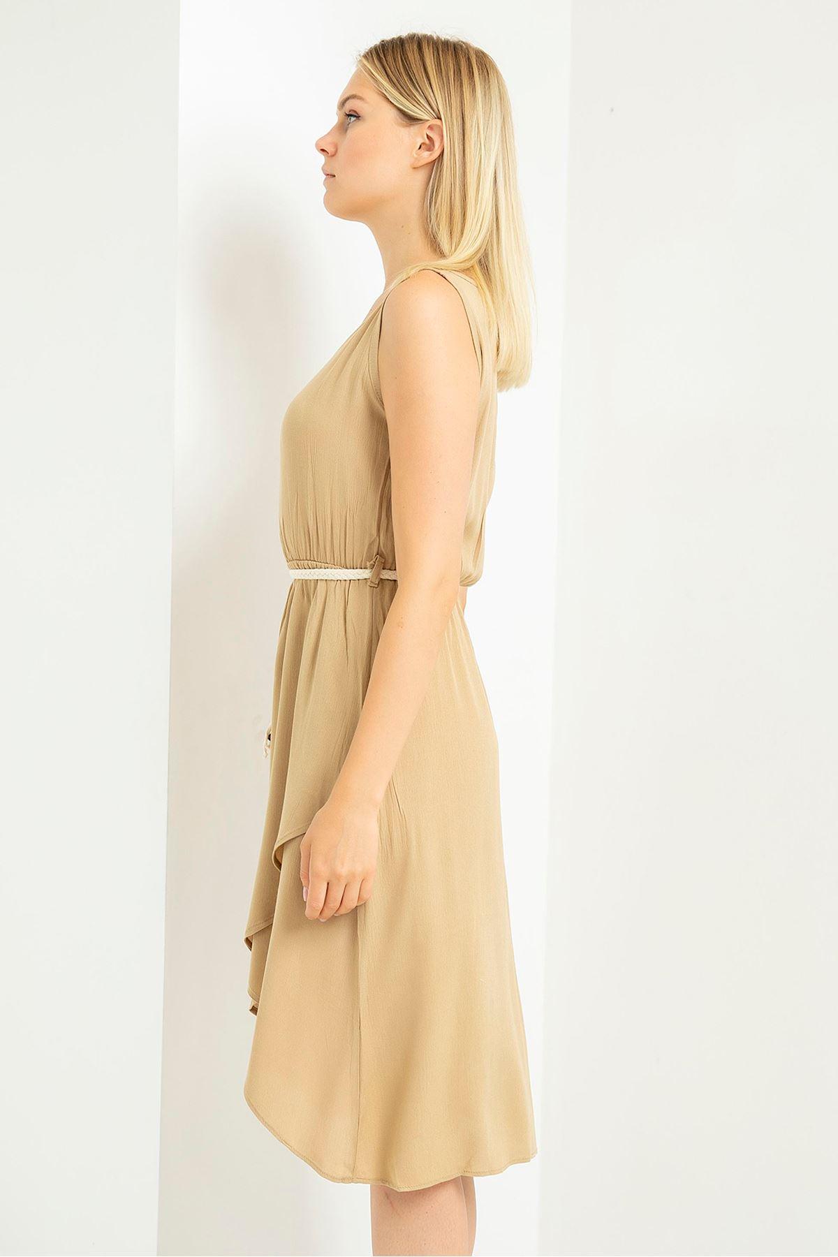 Hasır Kemerli Elbise-Bej