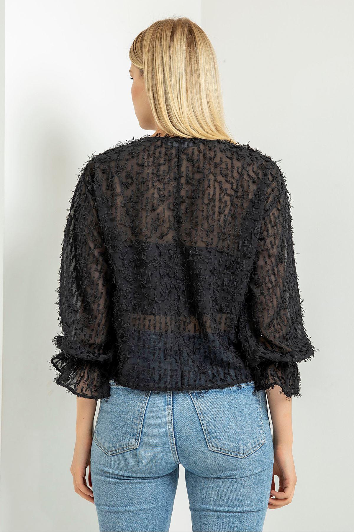Transparan Saçaklı Bluz-Siyah