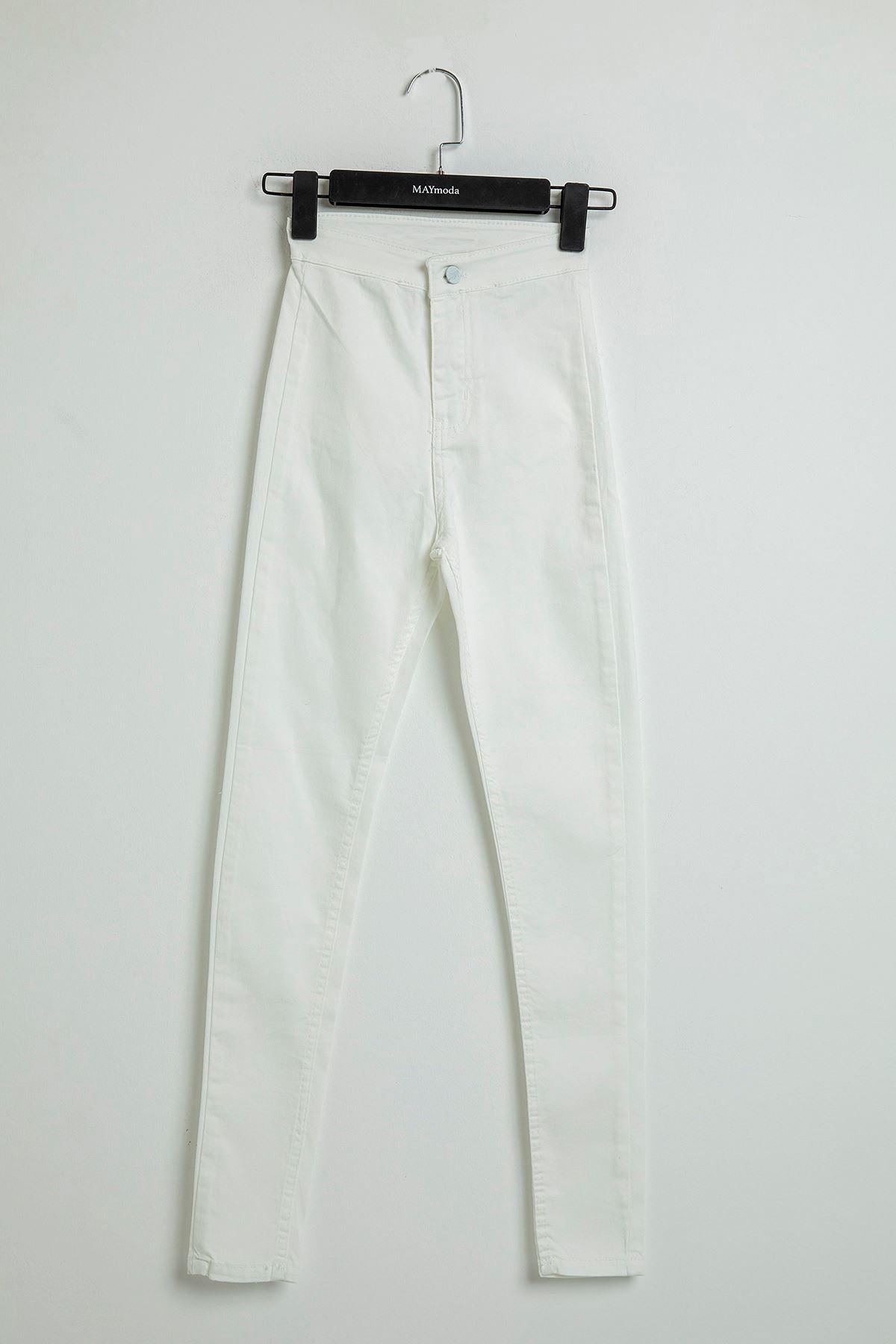 Cepsiz Beyaz Jean Pantolon-Beyaz