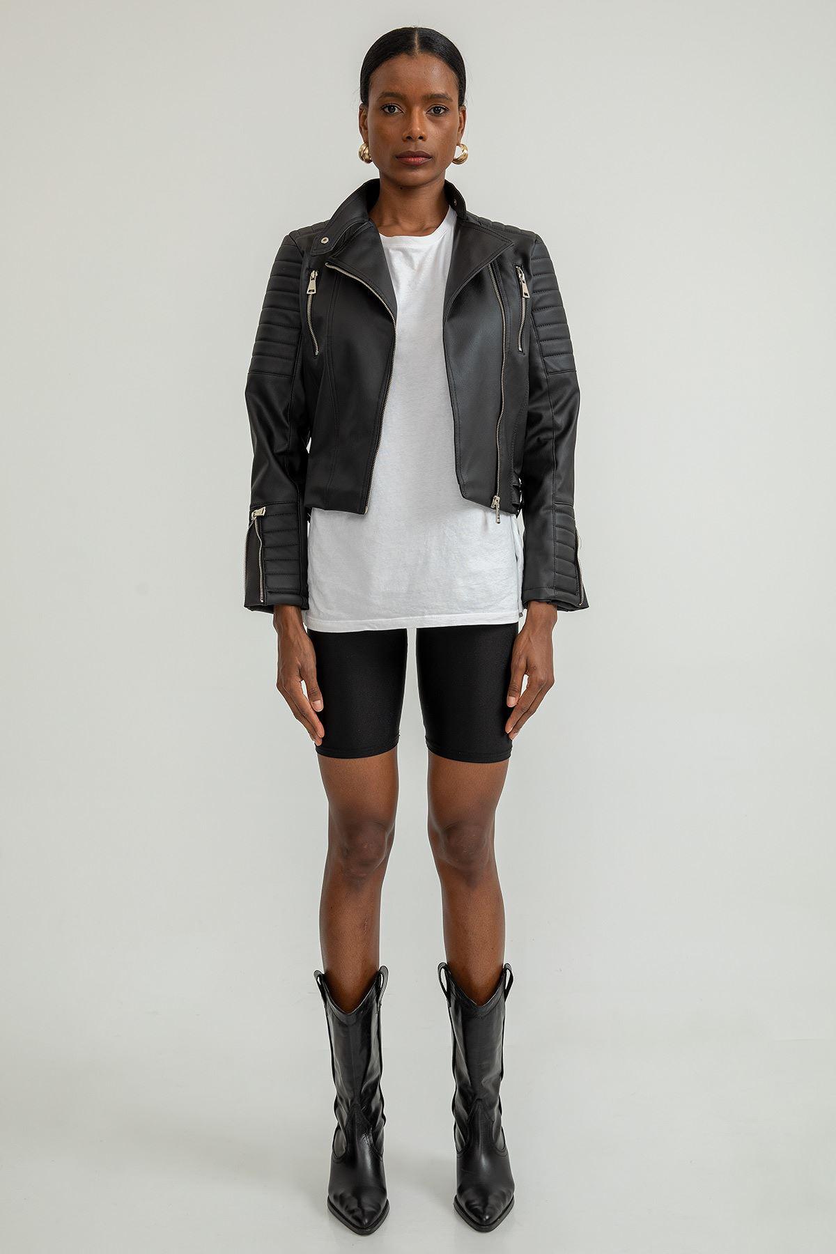 Fermuar Detay Deri Ceket-Siyah