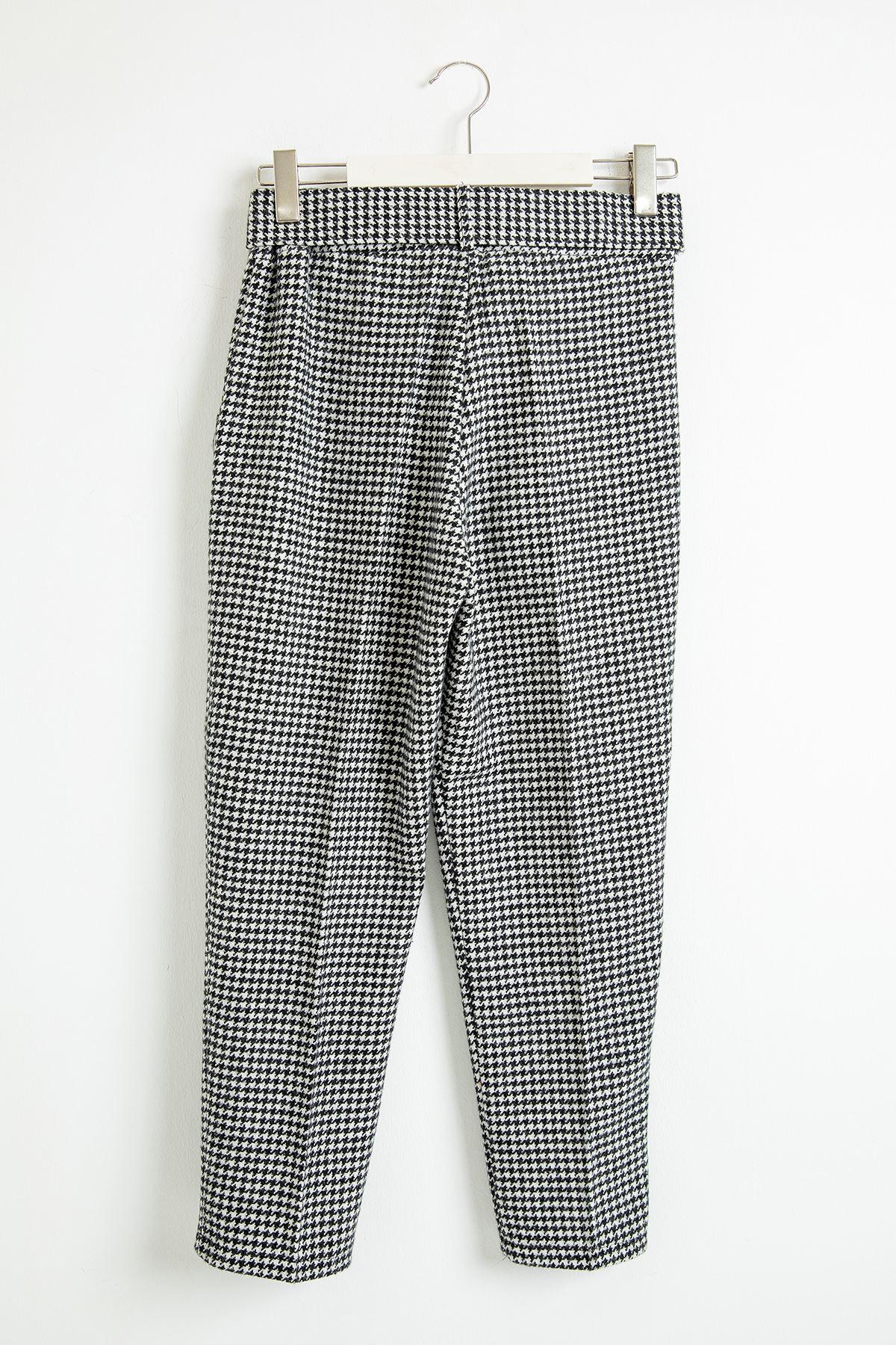 Kazayağı Kaşe Pantolon-Siyah