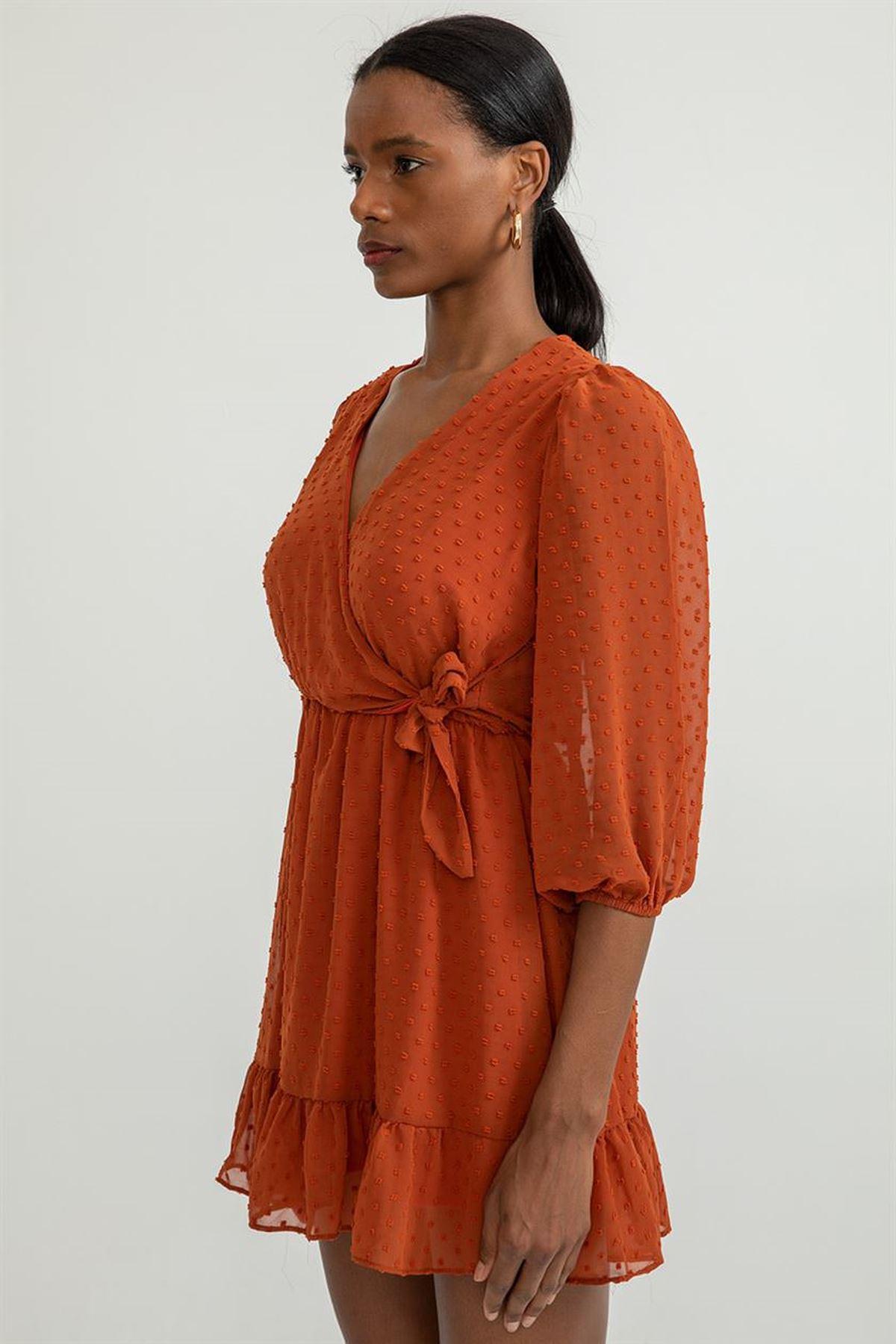 Kruvaze Yaka Mini Elbise-Kiremit
