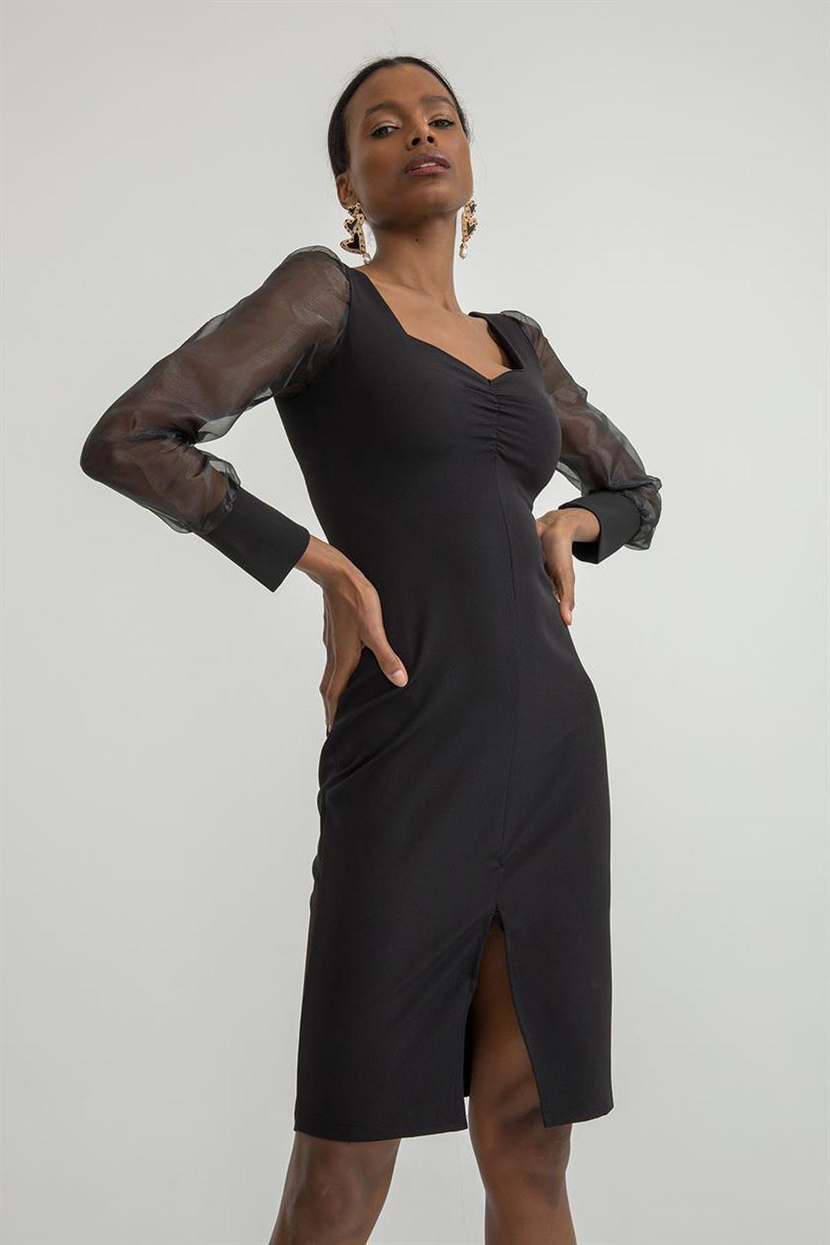 Kolları Tül Yırtmaçlı Elbise-Siyah