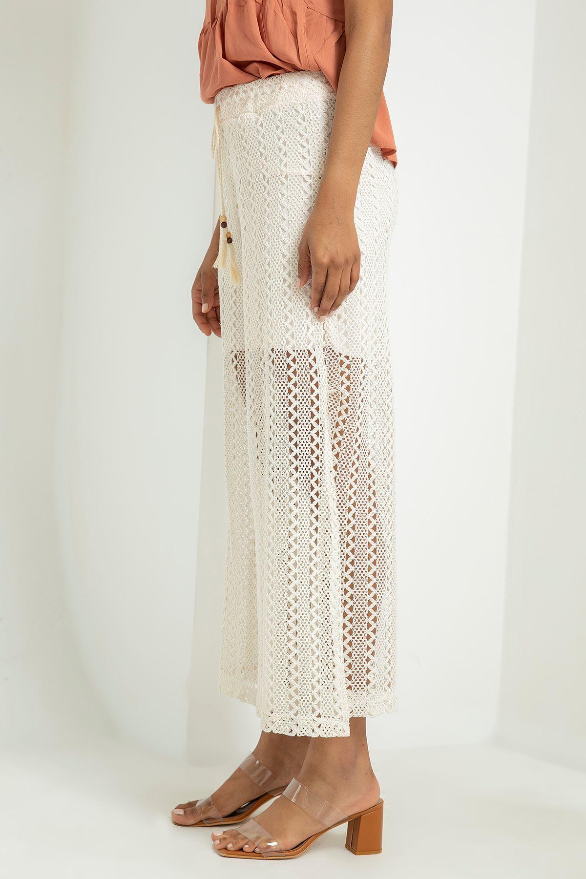 Yırtmaçlı Dantel Pantolon-Beyaz