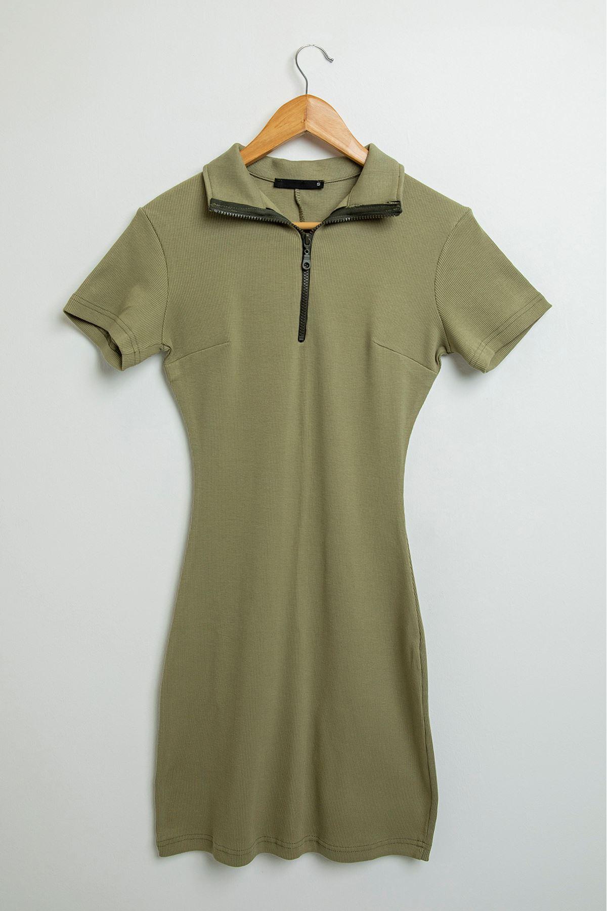 Önü Fermuarlı Kaşkorse Elbise-Haki