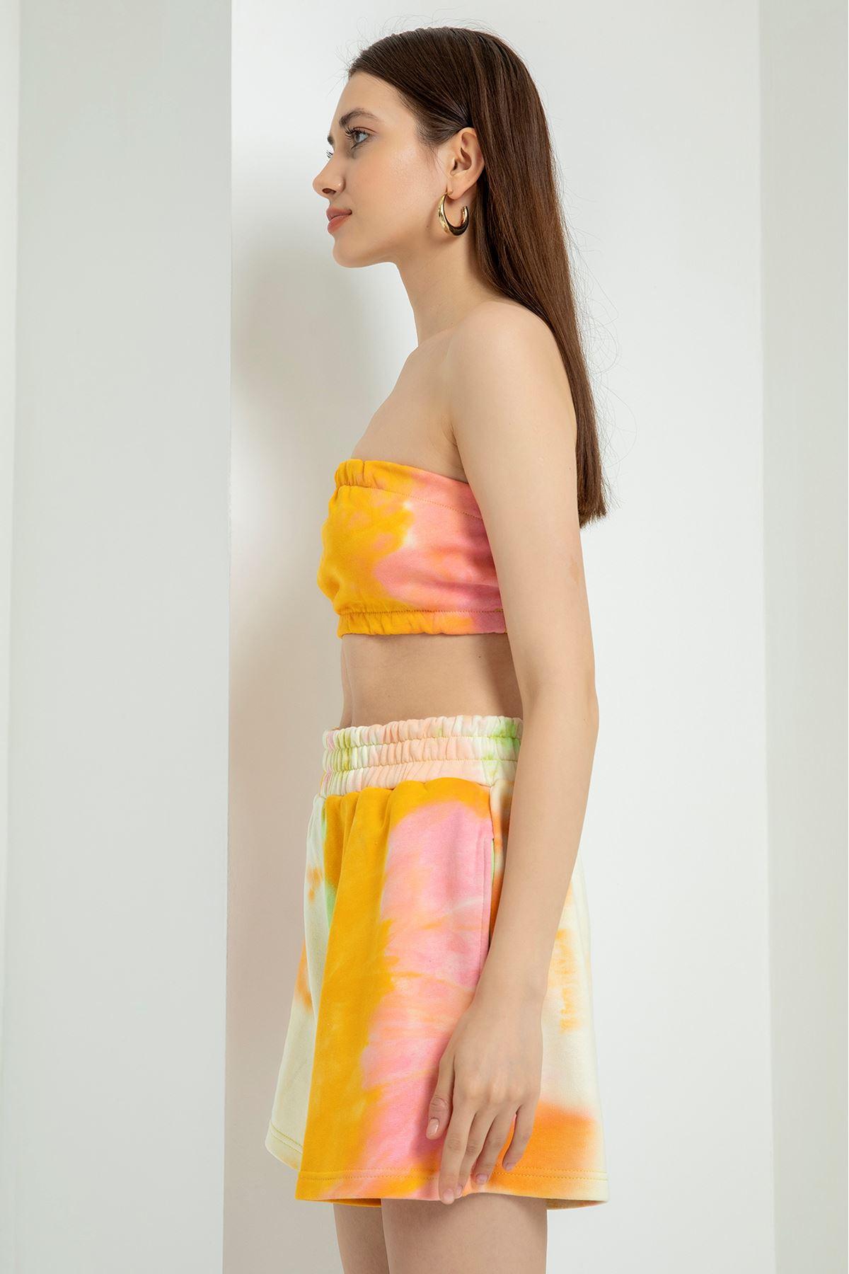 Batik Desen Şort Takım-Hardal