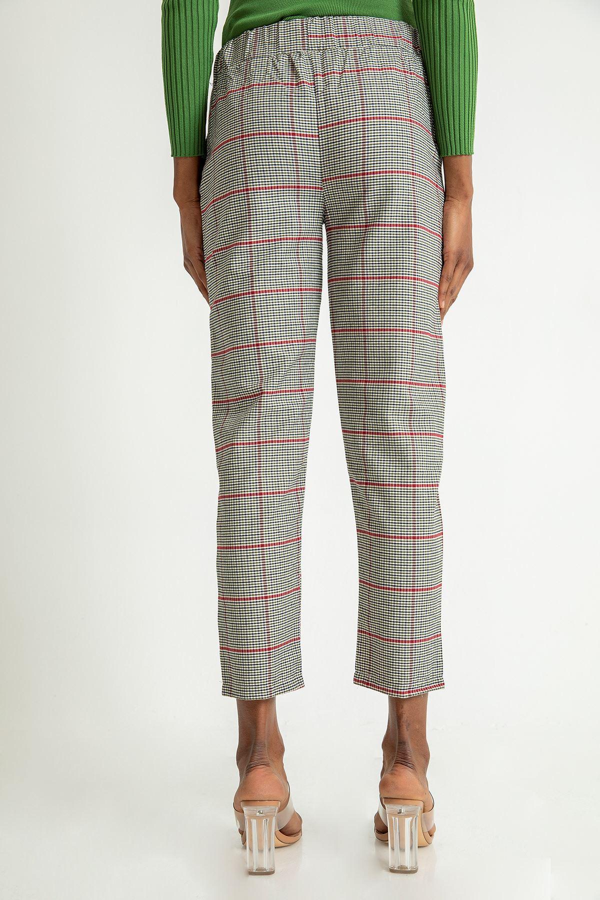 Renkli Ekose Desen Pantolon-Haki
