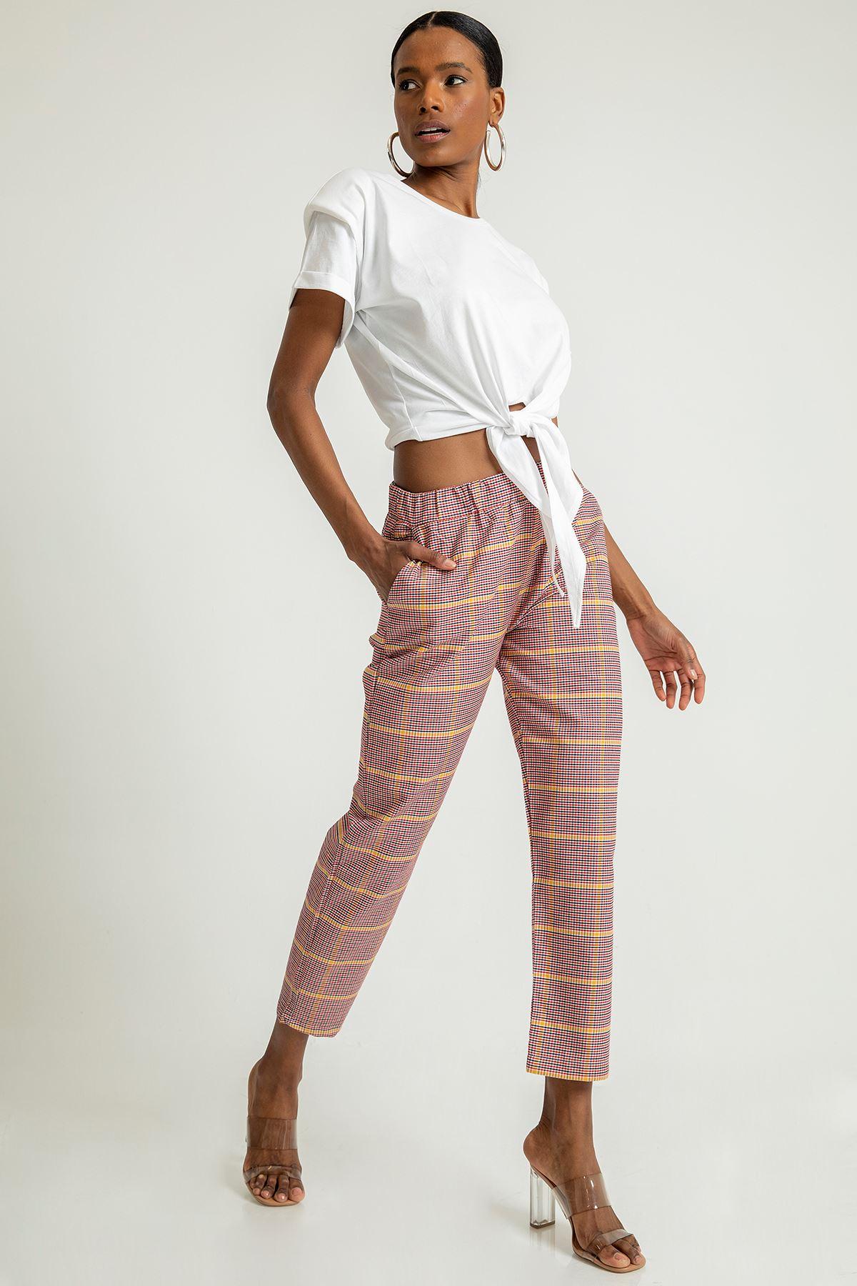 Renkli Ekose Desen Pantolon-Hardal