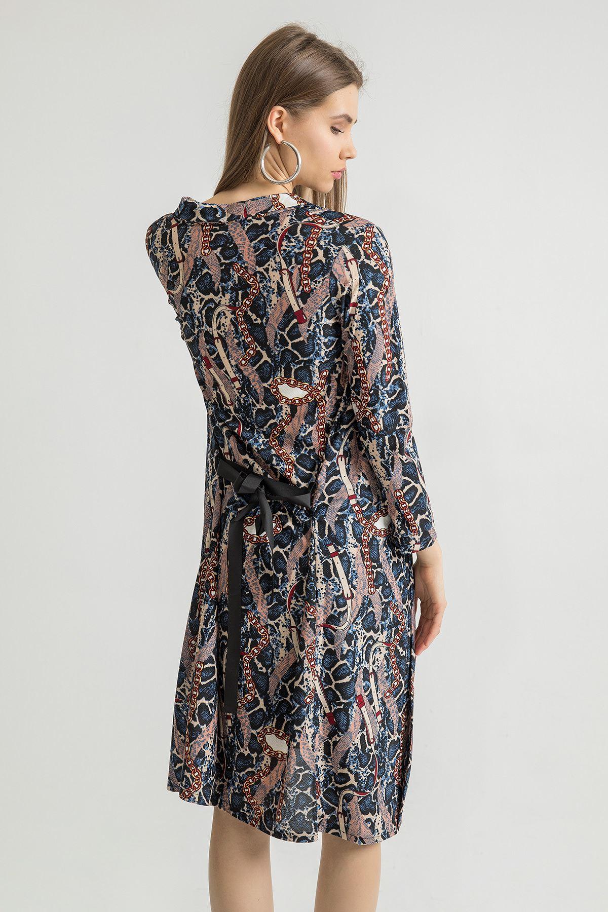 Zincir Desenli Kimono-Lacivert